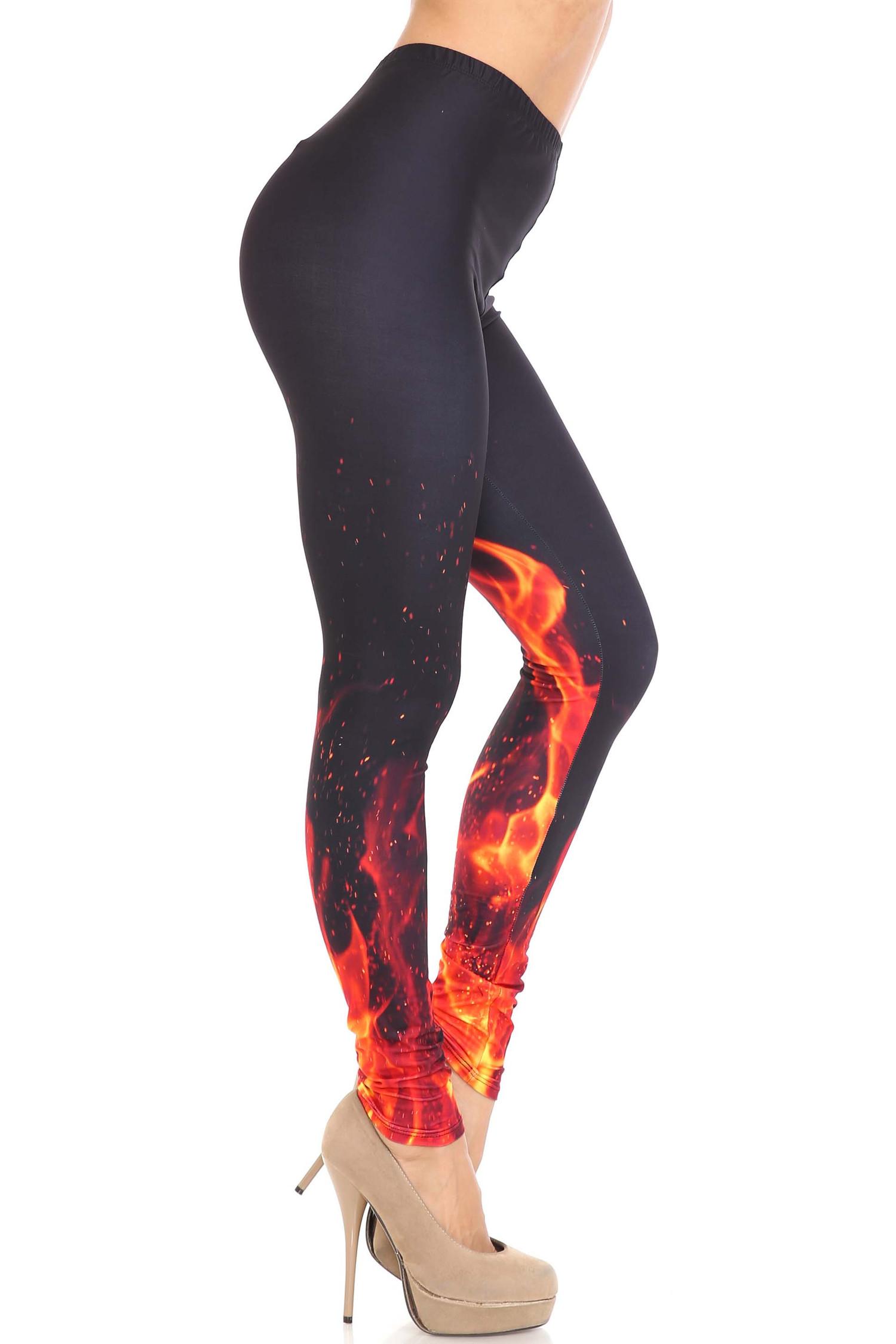 Creamy Soft Flame and Fire Leggings - USA Fashion™