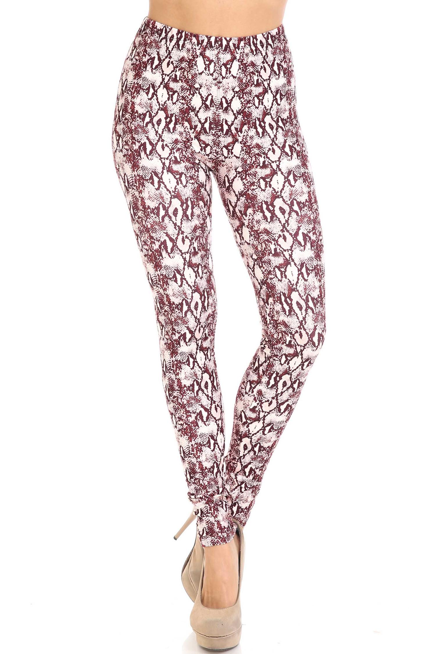 Creamy Soft Crimson Snakeskin Extra Plus Size Leggings - 3X-5X - USA Fashion™