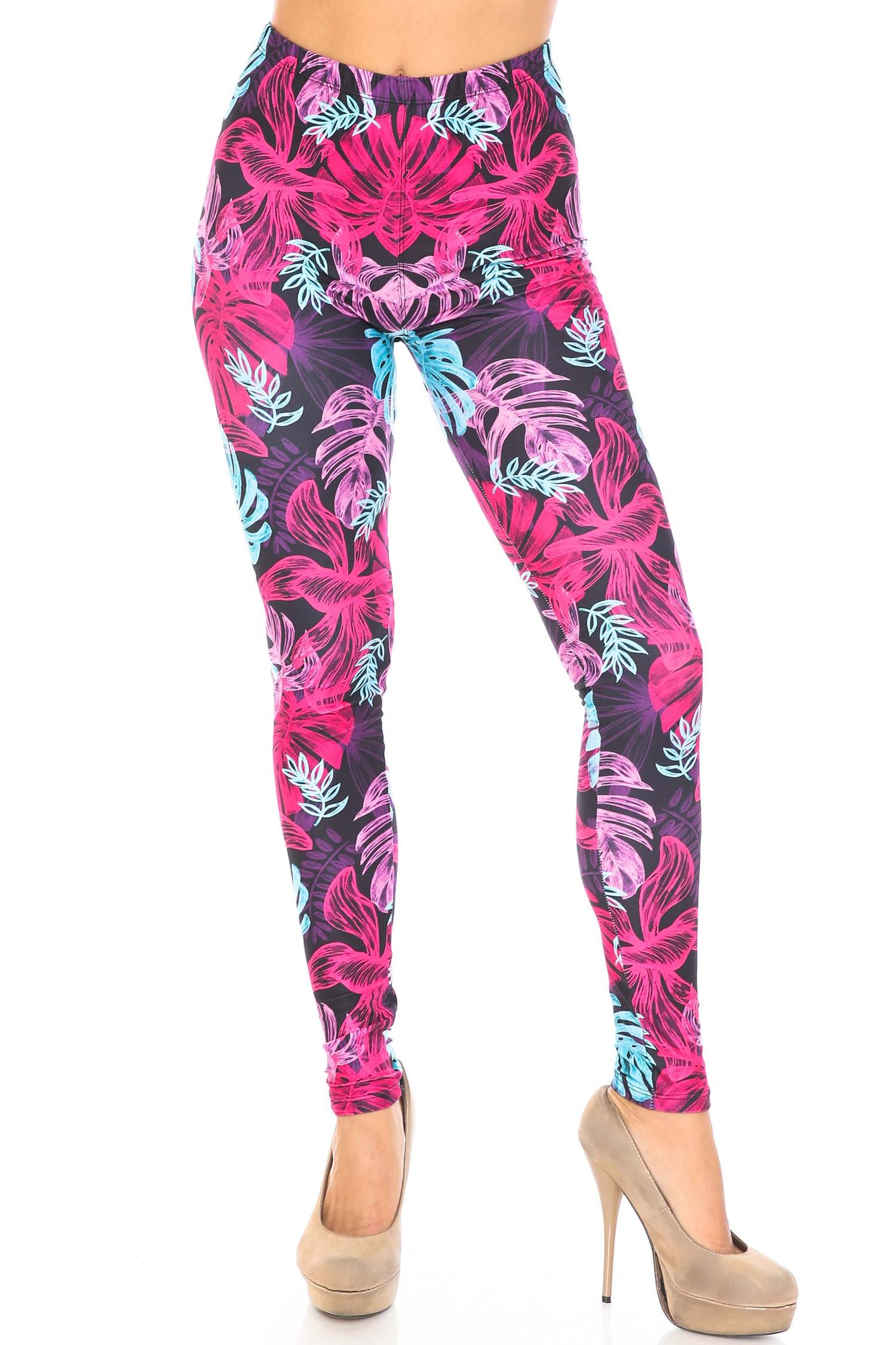 Creamy Soft Vivid Tropical Leaves Extra Plus Size Leggings - 3X-5X - USA Fashion™