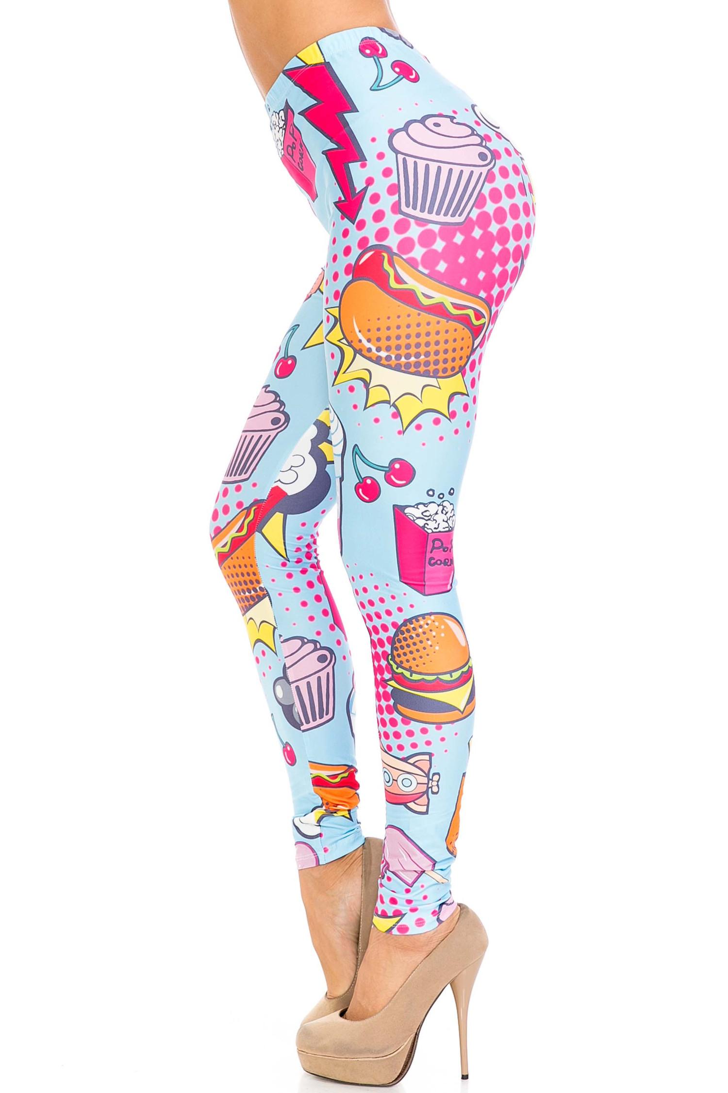 Creamy Soft Fast Food Comic Plus Size Leggings - USA Fashion™