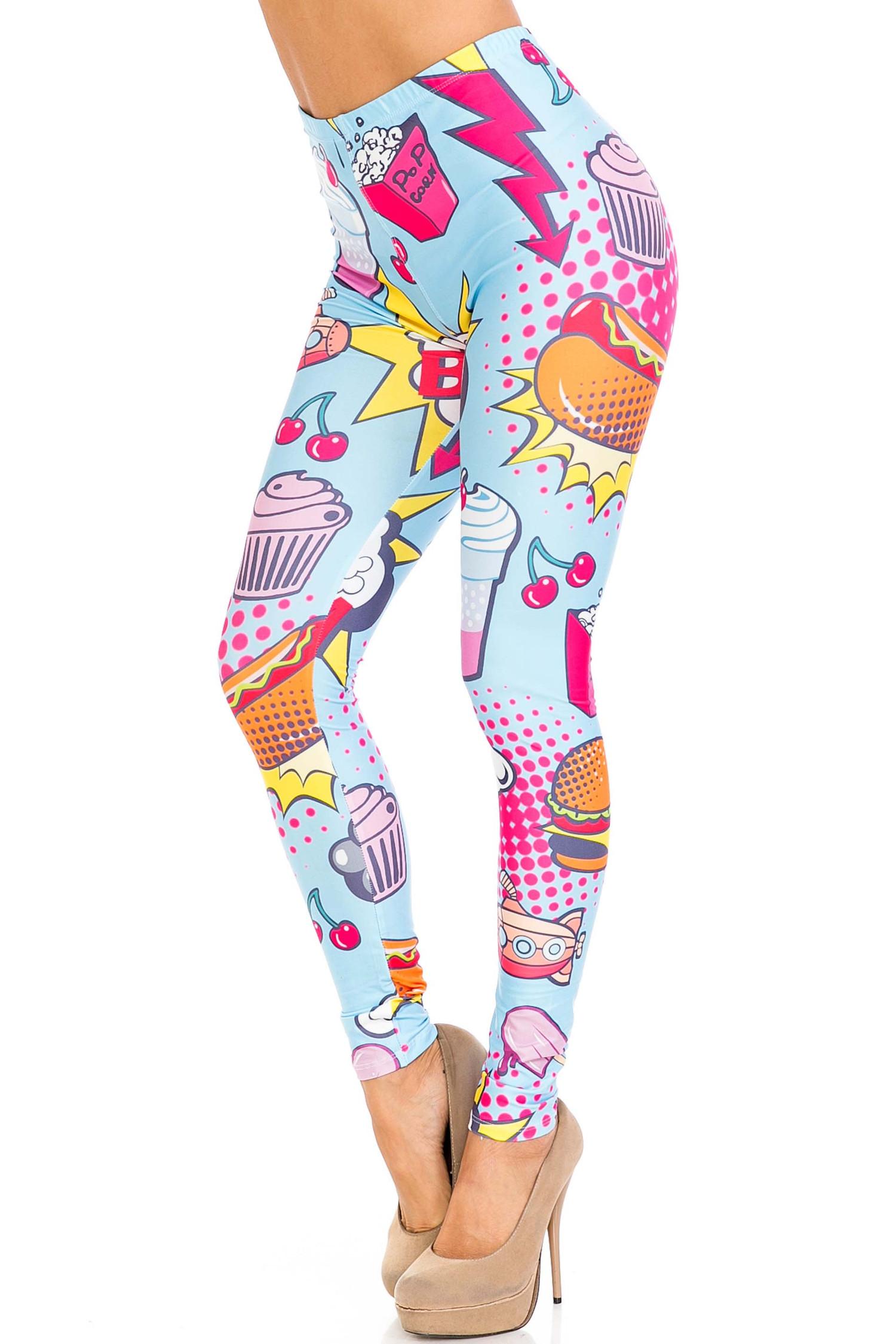 Creamy Soft Fast Food Comic Extra Plus Size Leggings - 3X-5X - USA Fashion™