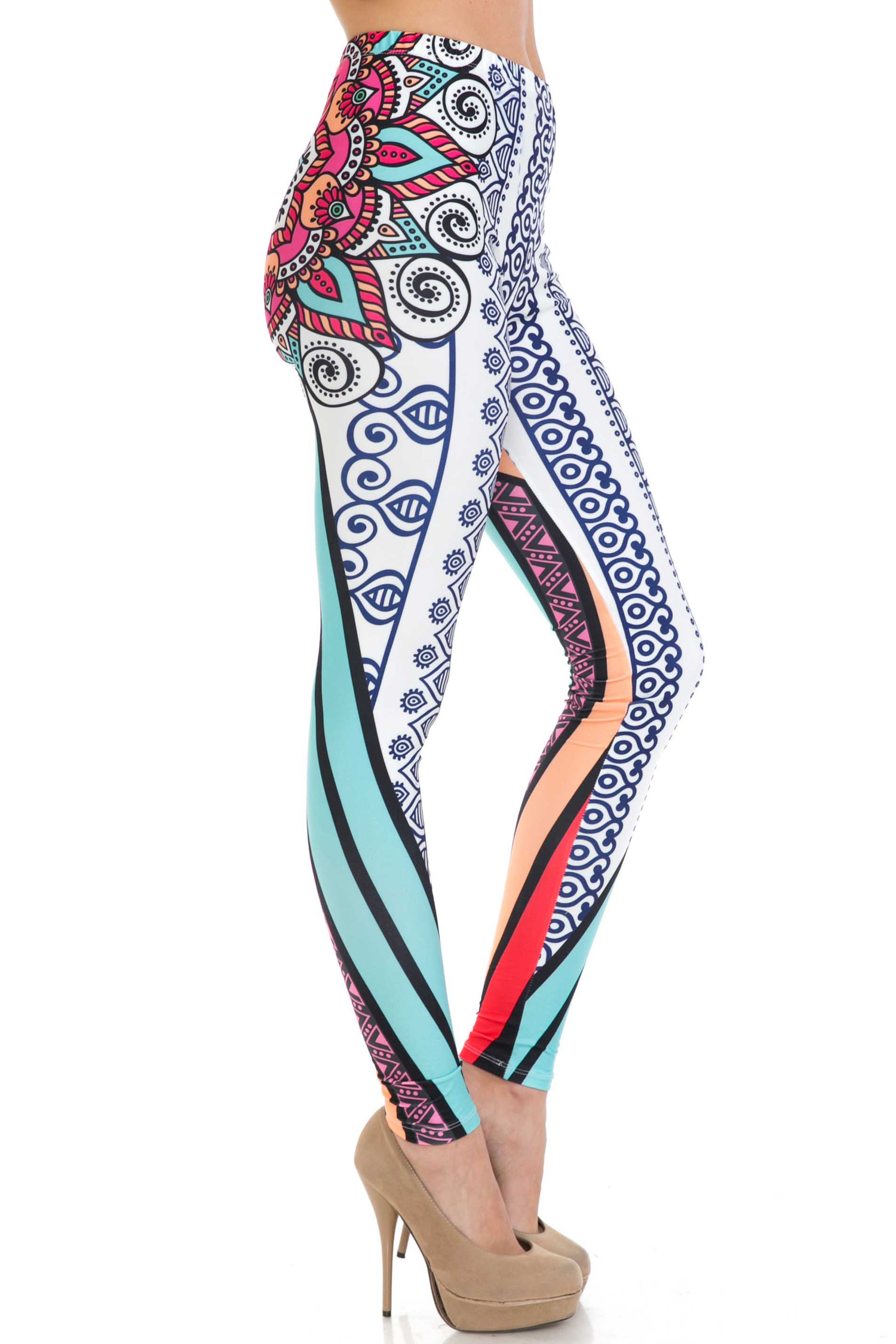 Creamy Soft Sexy Vertical Contouring Mandala Extra Plus Size Leggings - 3X-5X - USA Fashion™