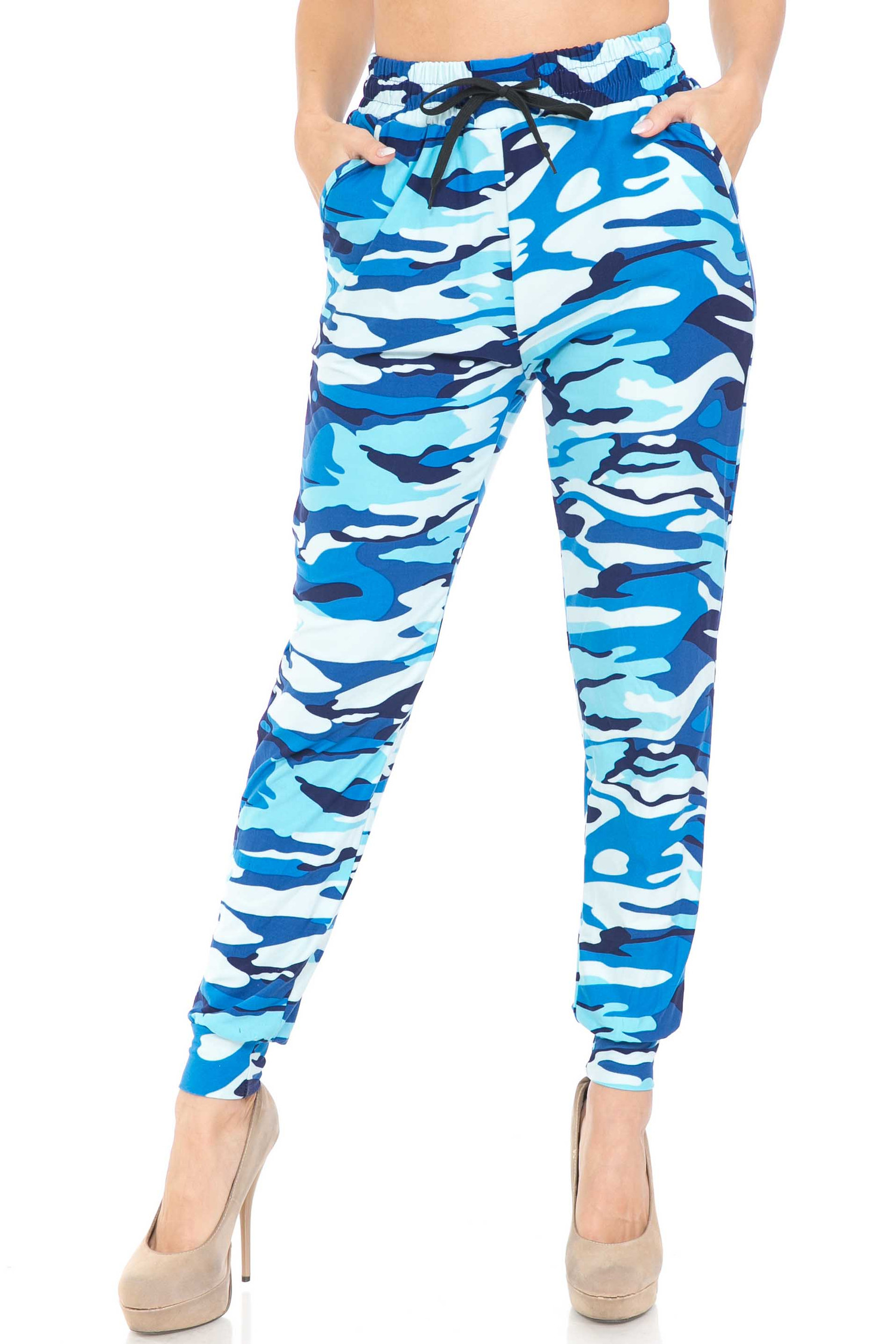 Buttery Soft Blue Camouflage Joggers - EEVEE