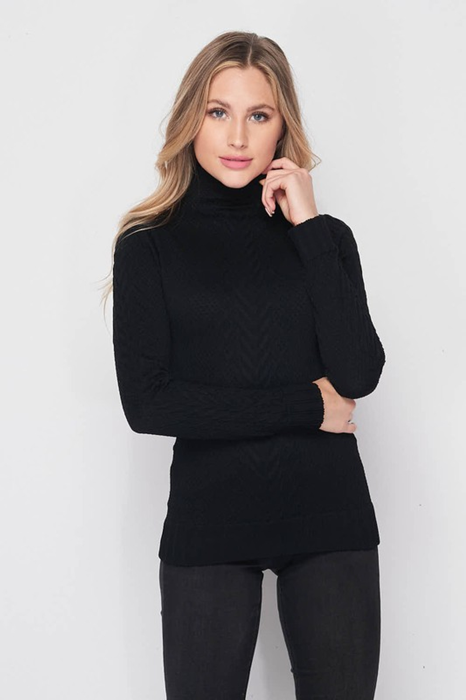 Black Seamless Fitted Mock Neck Cable Knit Top