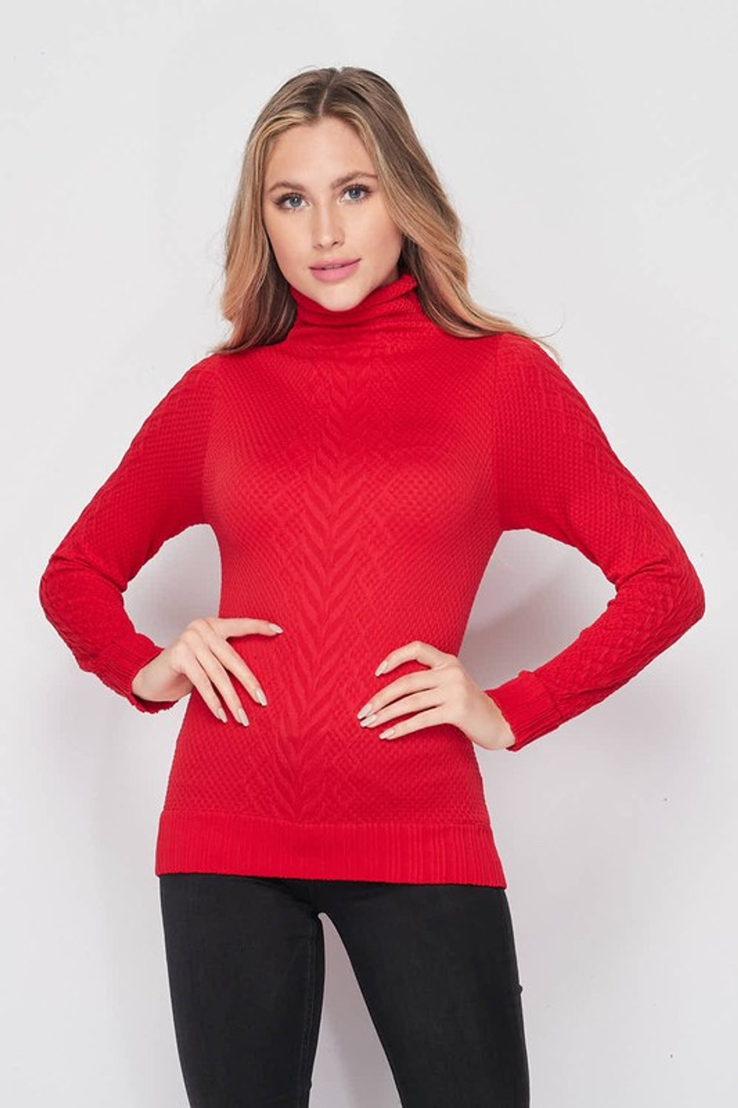 Front of Red Seamless Fitted Mock Neck Cable Knit Top