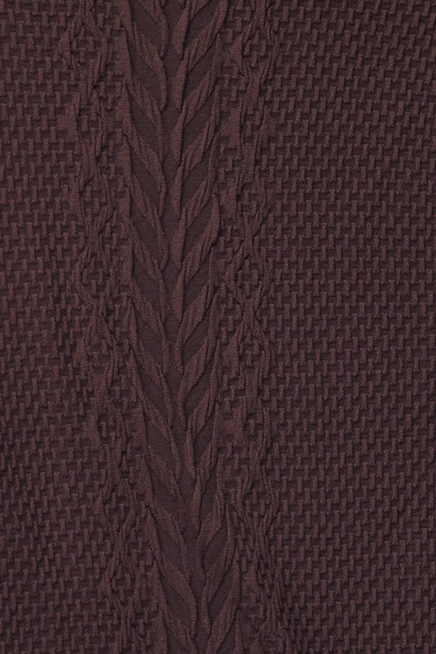 Close-up swatch of Brown Seamless Fitted Mock Neck Cable Knit Top