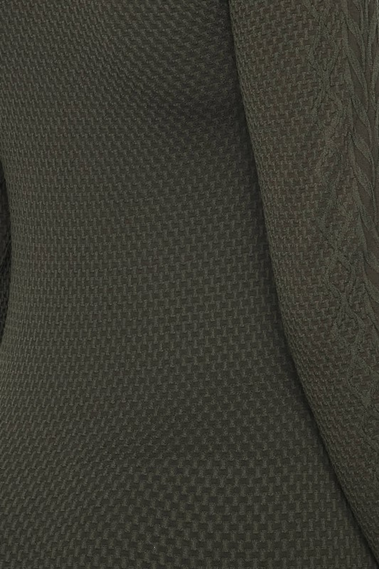 Close-up swatch of Olive Seamless Fitted Mock Neck Cable Knit Top