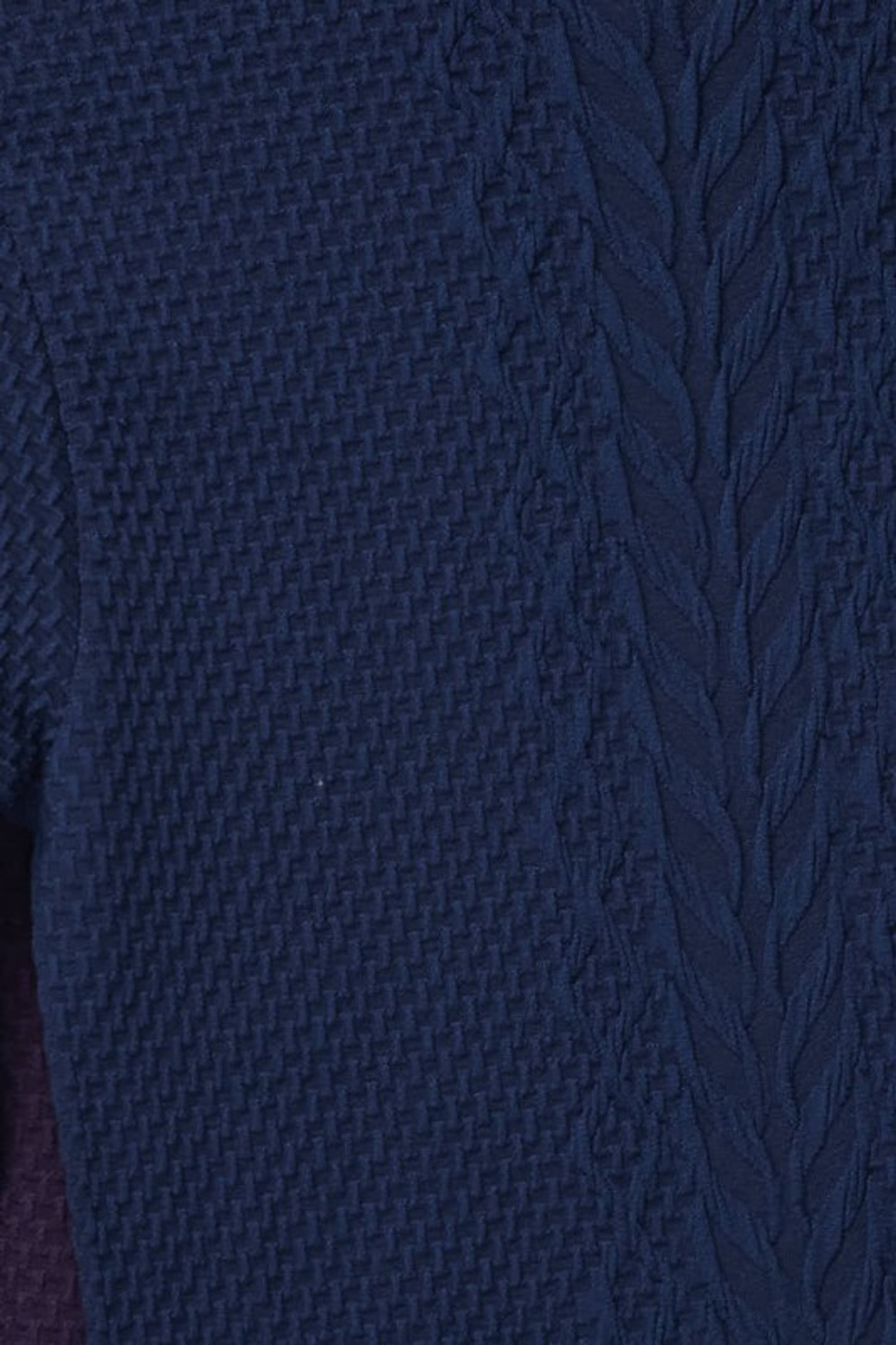 Close-up swatch of Navy Seamless Fitted Mock Neck Cable Knit Top