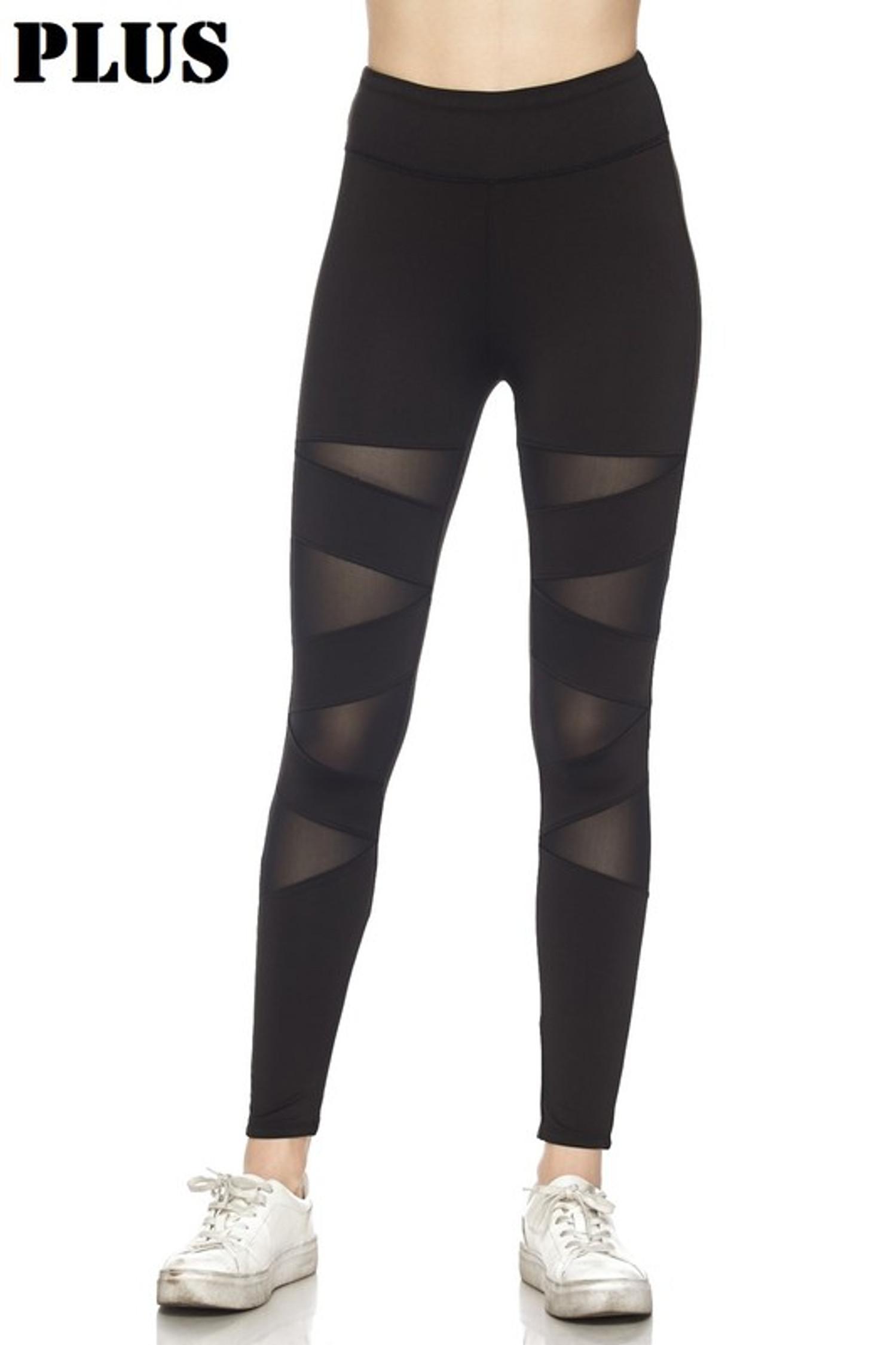 Front of Black Cruiser CrissCross Plus Size Sport Leggings