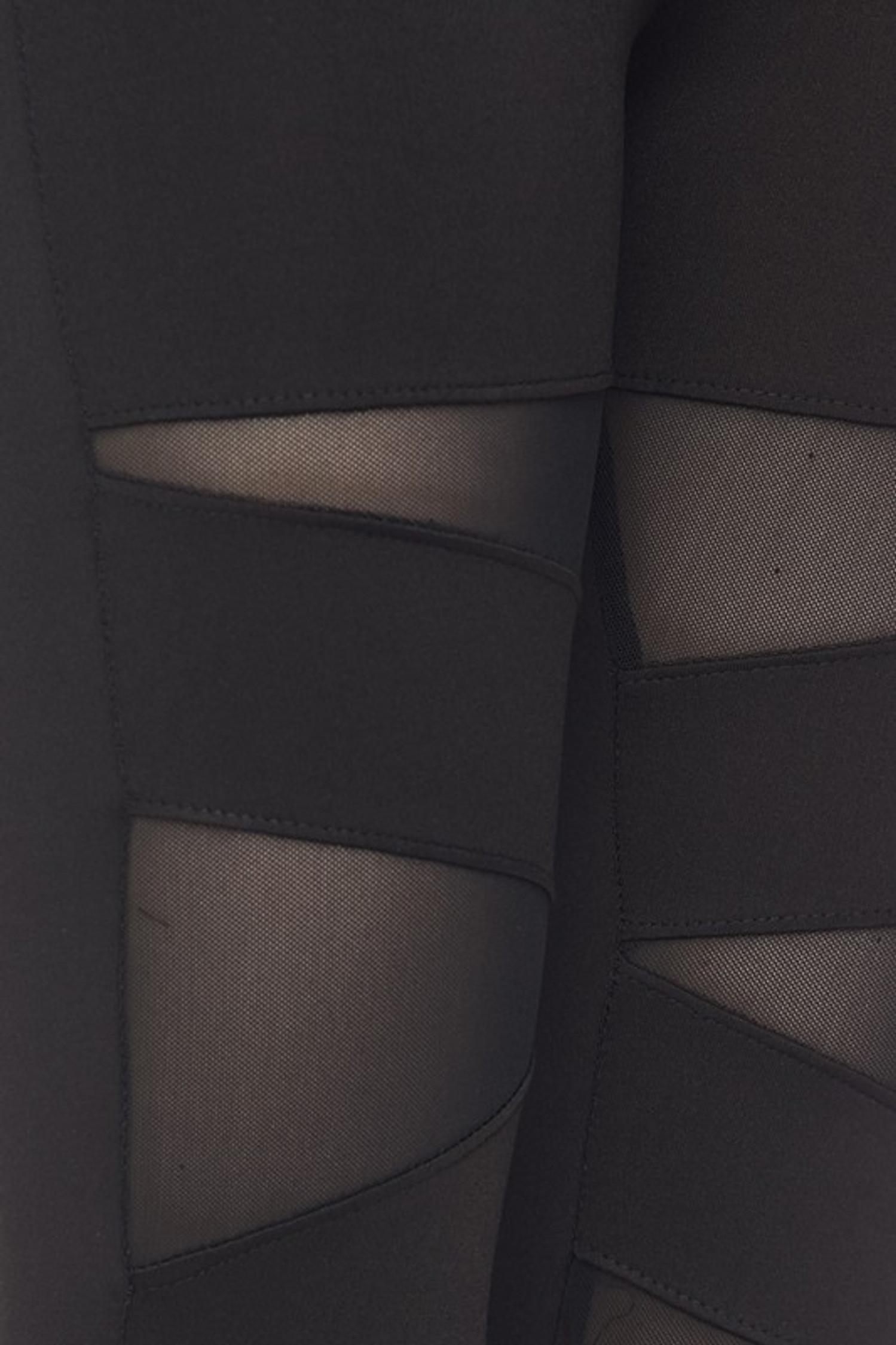 Close-up of mesh panels on Black Triangular Mesh Plus Size Sport Leggings