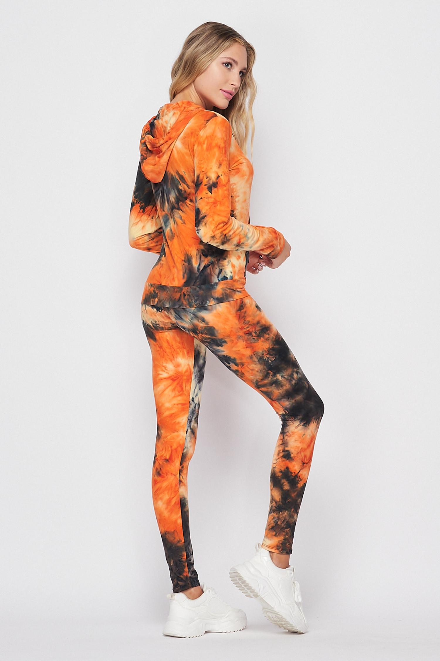 45 degree back/right side image of Orange Tie Dye 2 Piece Leggings and Hooded Jacket Set