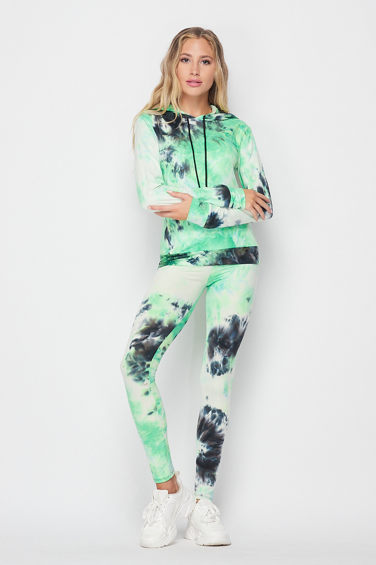 Front side of Green Tie Dye 2 Piece Leggings and Hooded Jacket Set