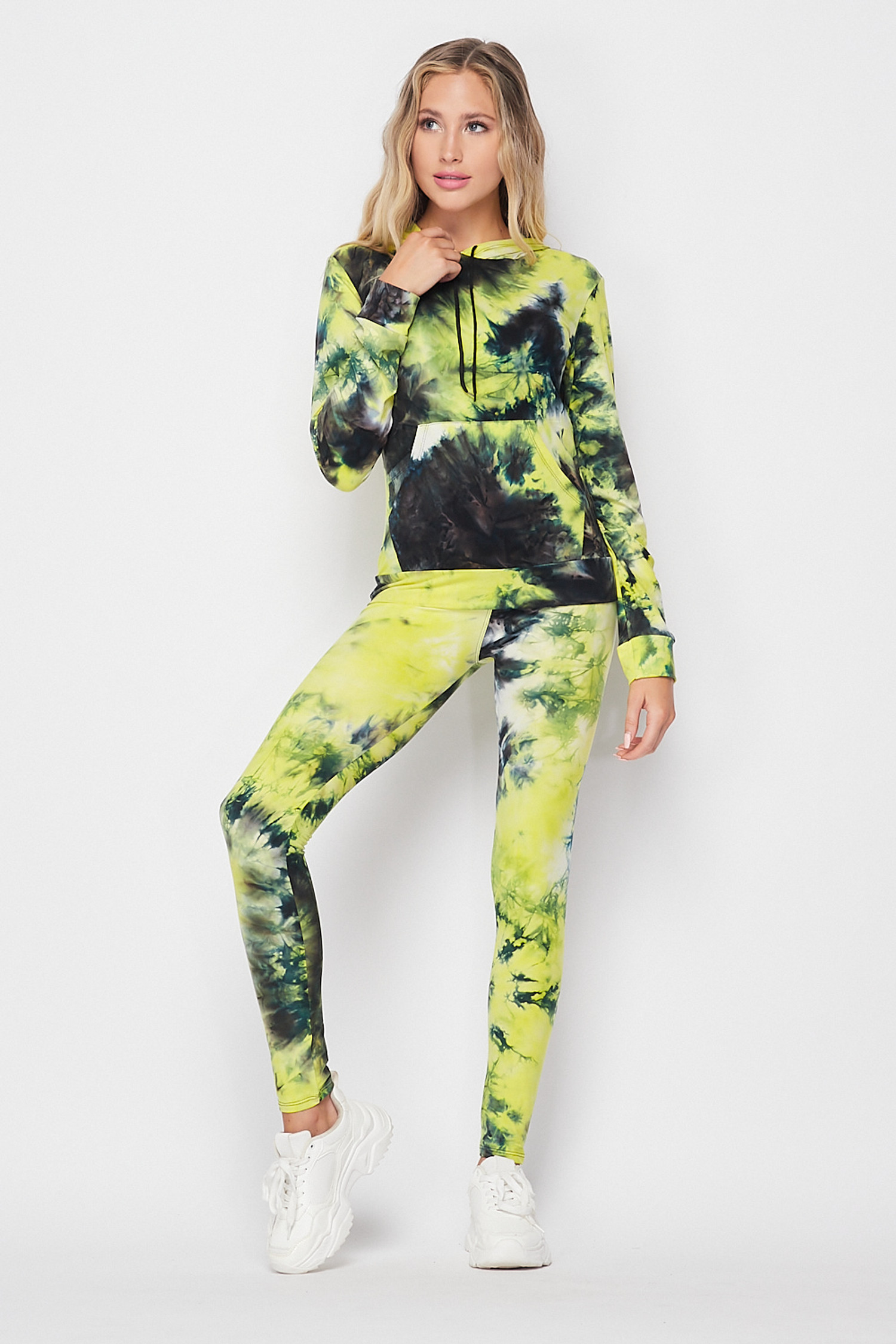 Front side of Yellow Tie Dye 2 Piece Leggings and Hooded Jacket Set