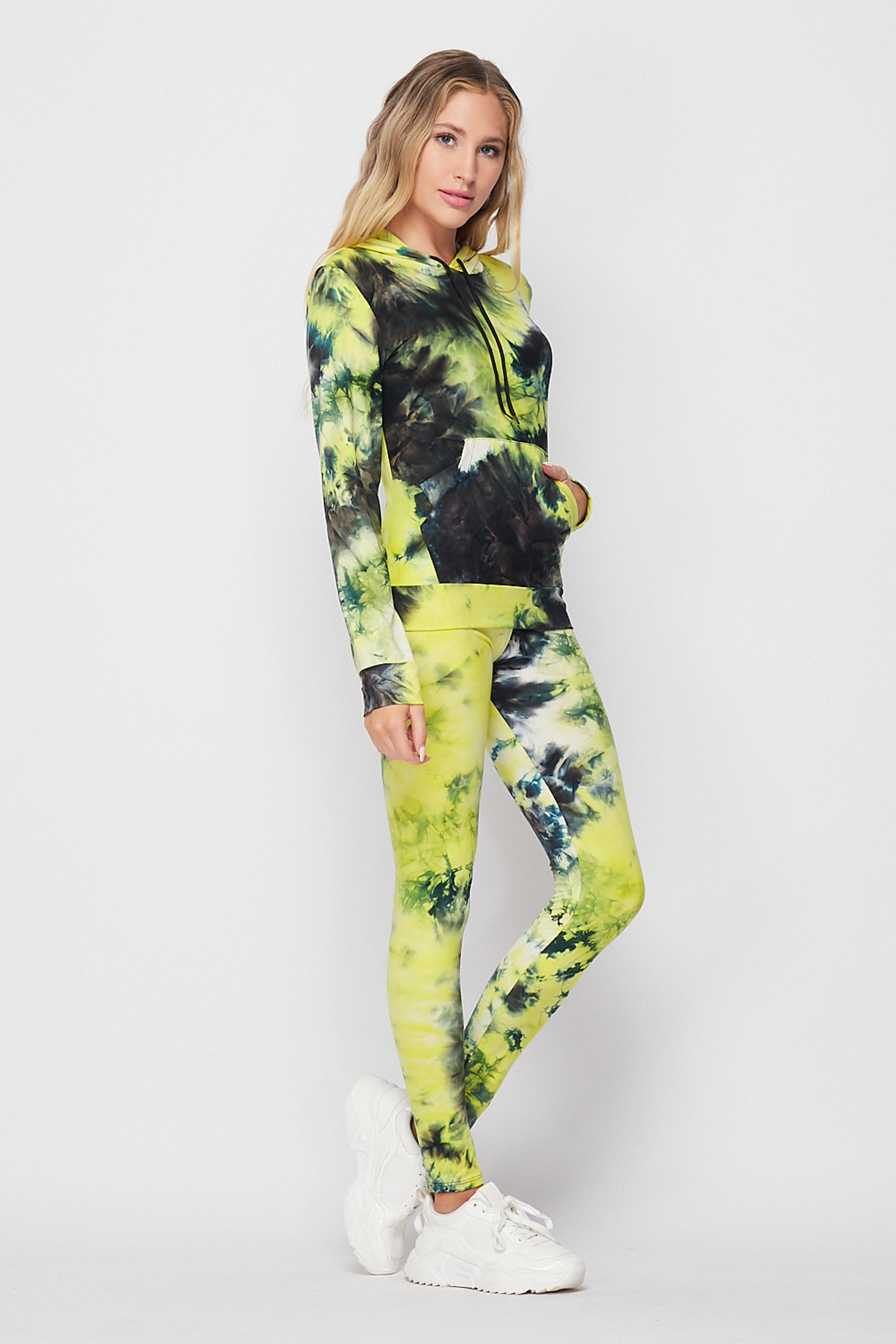 Right side image of Yellow Tie Dye 2 Piece Leggings and Hooded Jacket Set