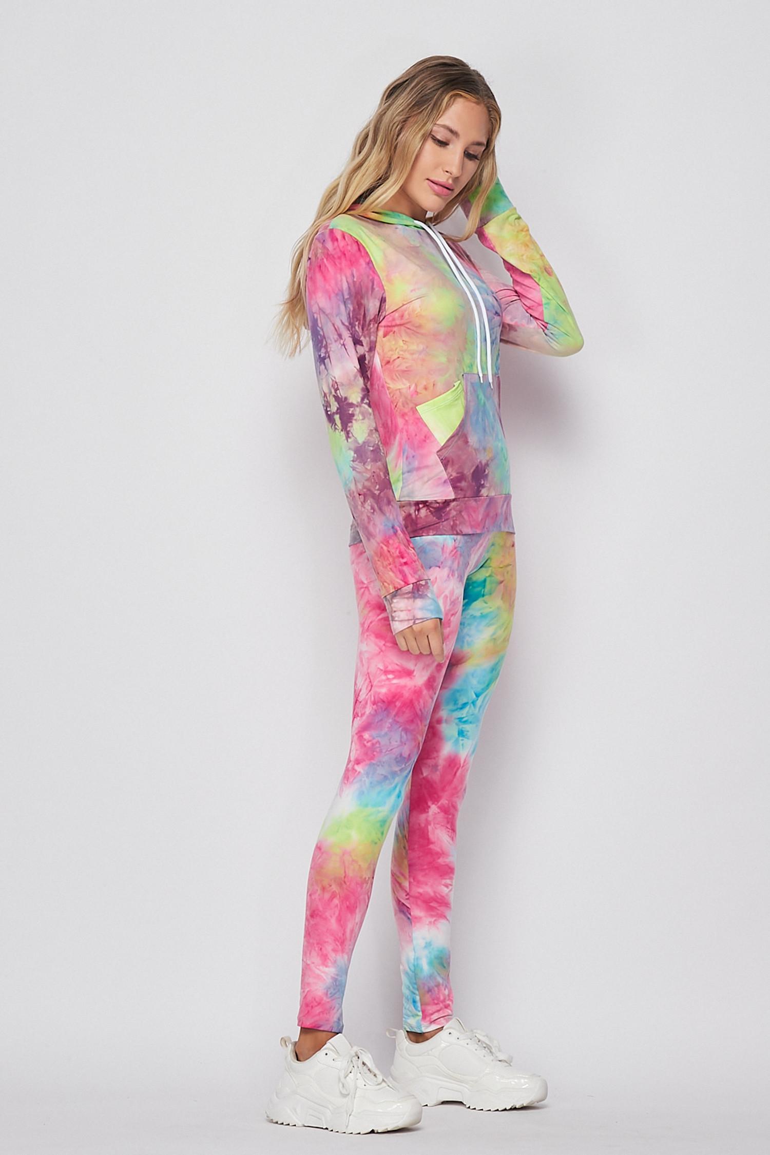 Blue/Pink Tie Dye 2 Piece Leggings and Hooded Jacket Set