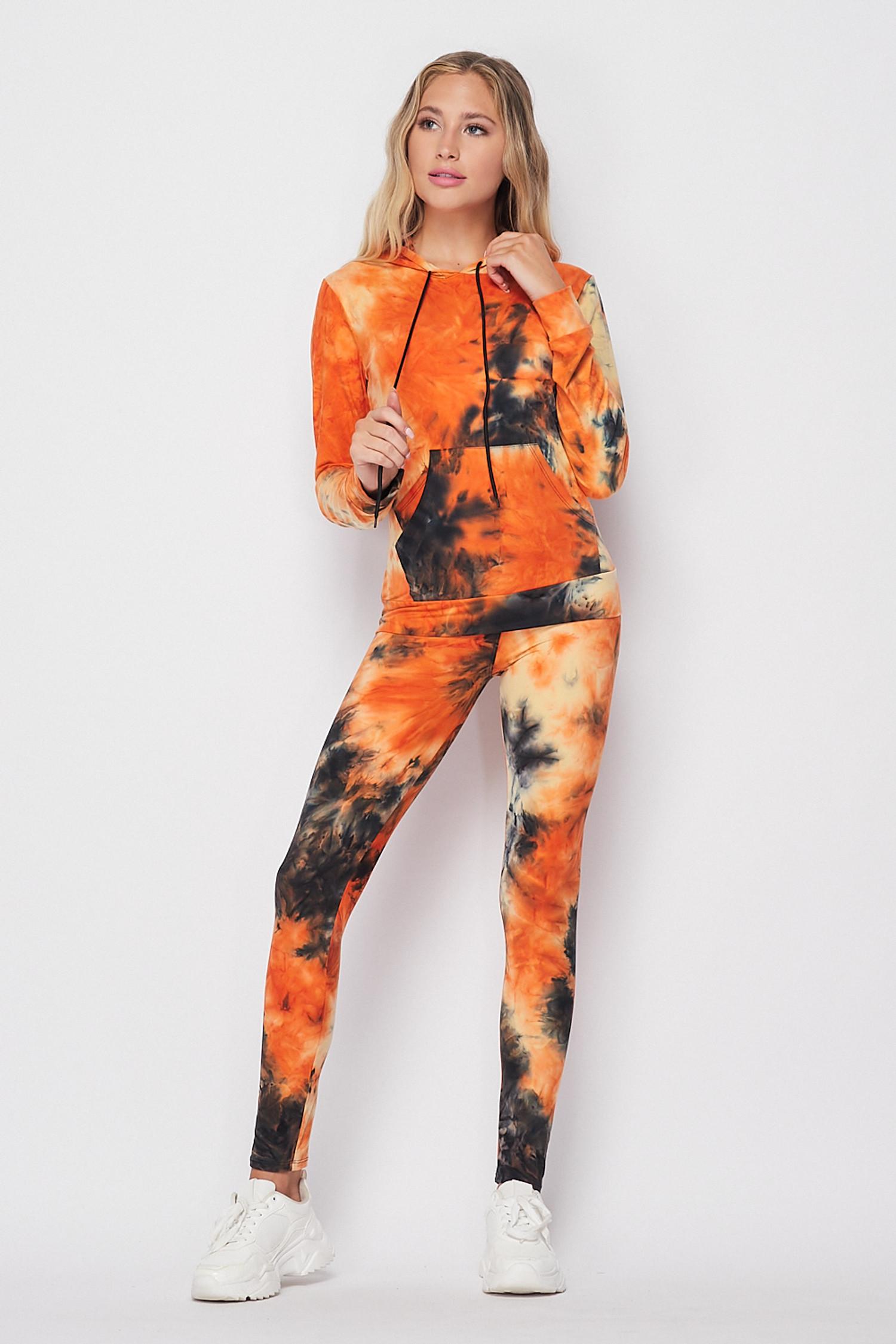 Orange Tie Dye 2 Piece Leggings and Hooded Jacket Set