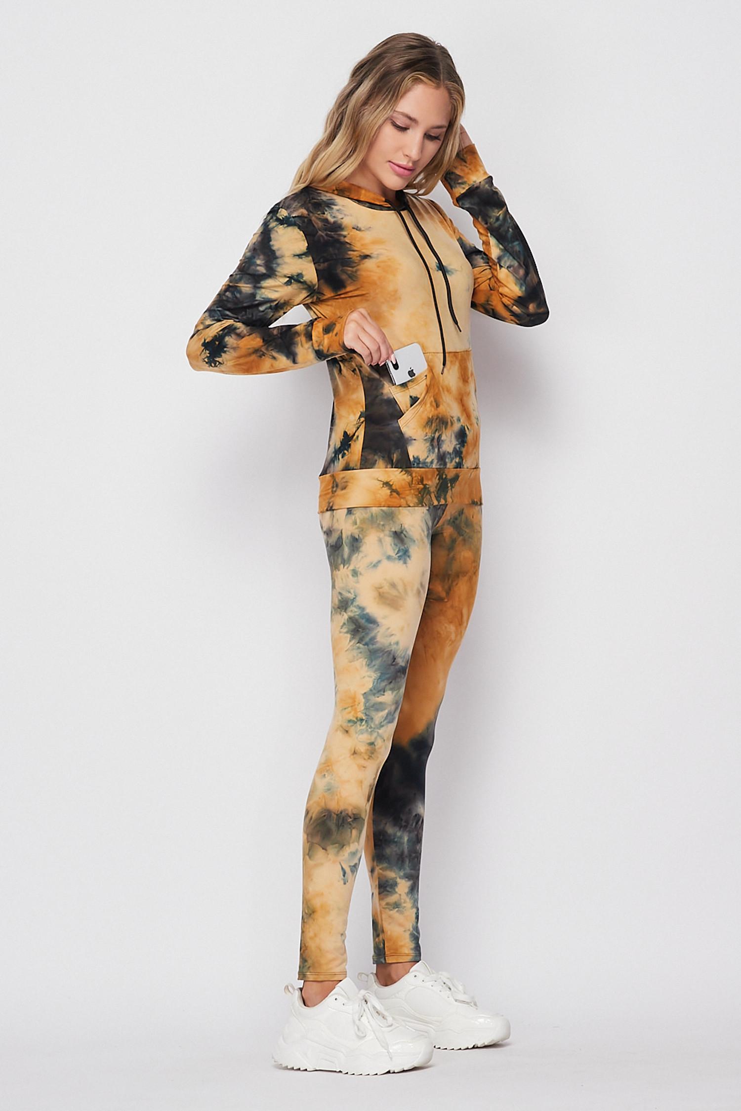 Camel Tie Dye 2 Piece Leggings and Hooded Jacket Set
