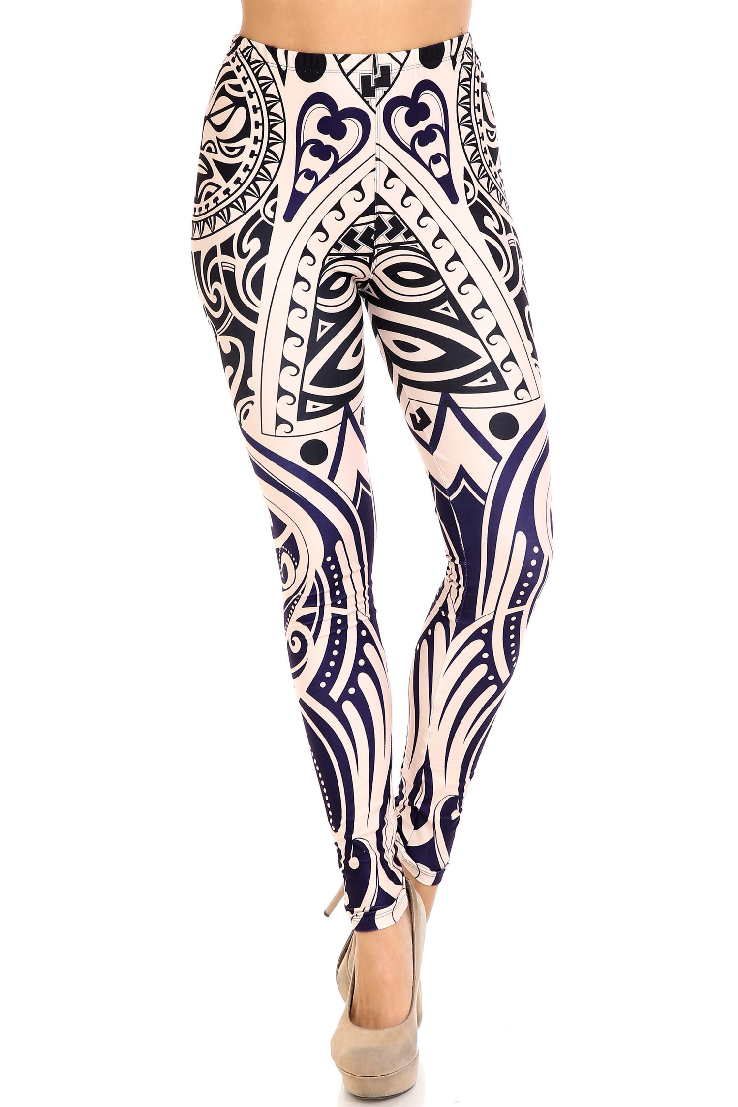 Front of mid rise Creamy Soft Valhalla Plus Size Leggings - USA Fashion™ with a full length hem and elastic waist.