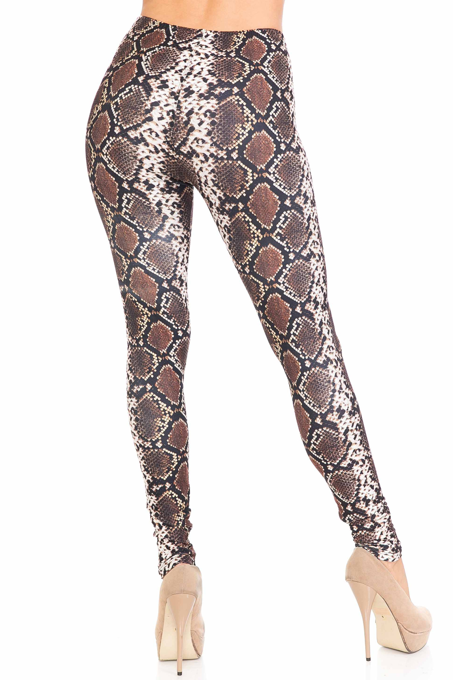 Back view of our sexy Creamy Soft Brown Boa Leggings - USA Fashion™ with a sassy all over reptile print.