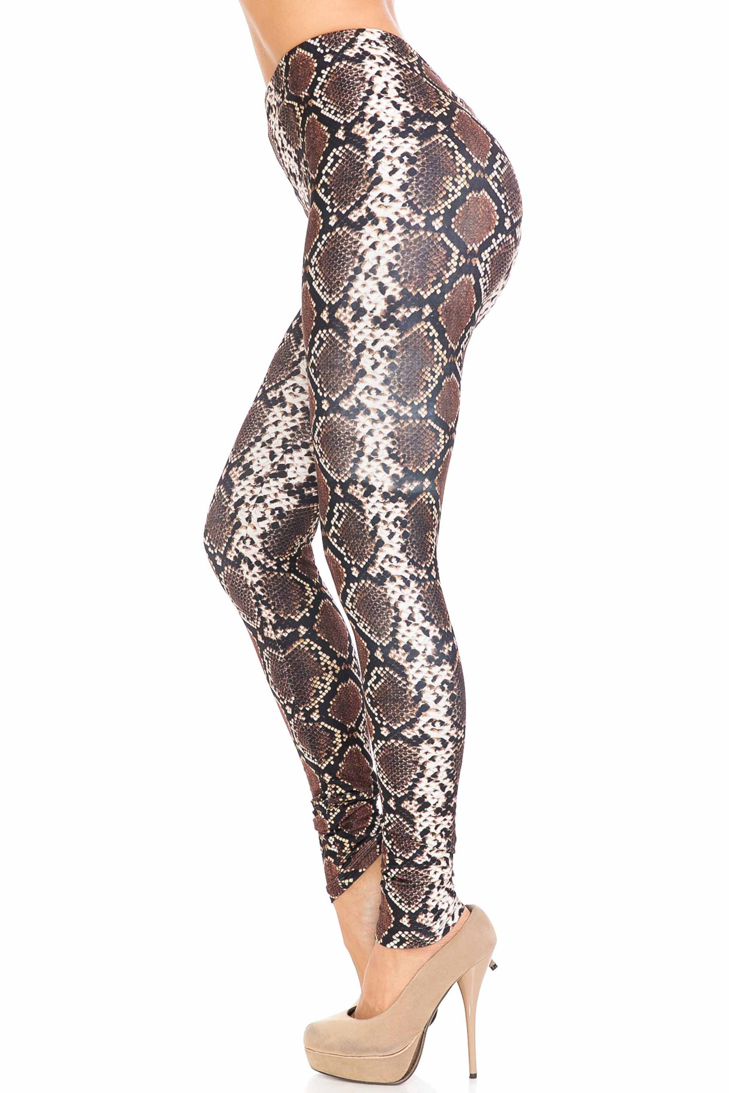 Left side of Creamy Soft Brown Boa Plus Size Leggings - USA Fashion™