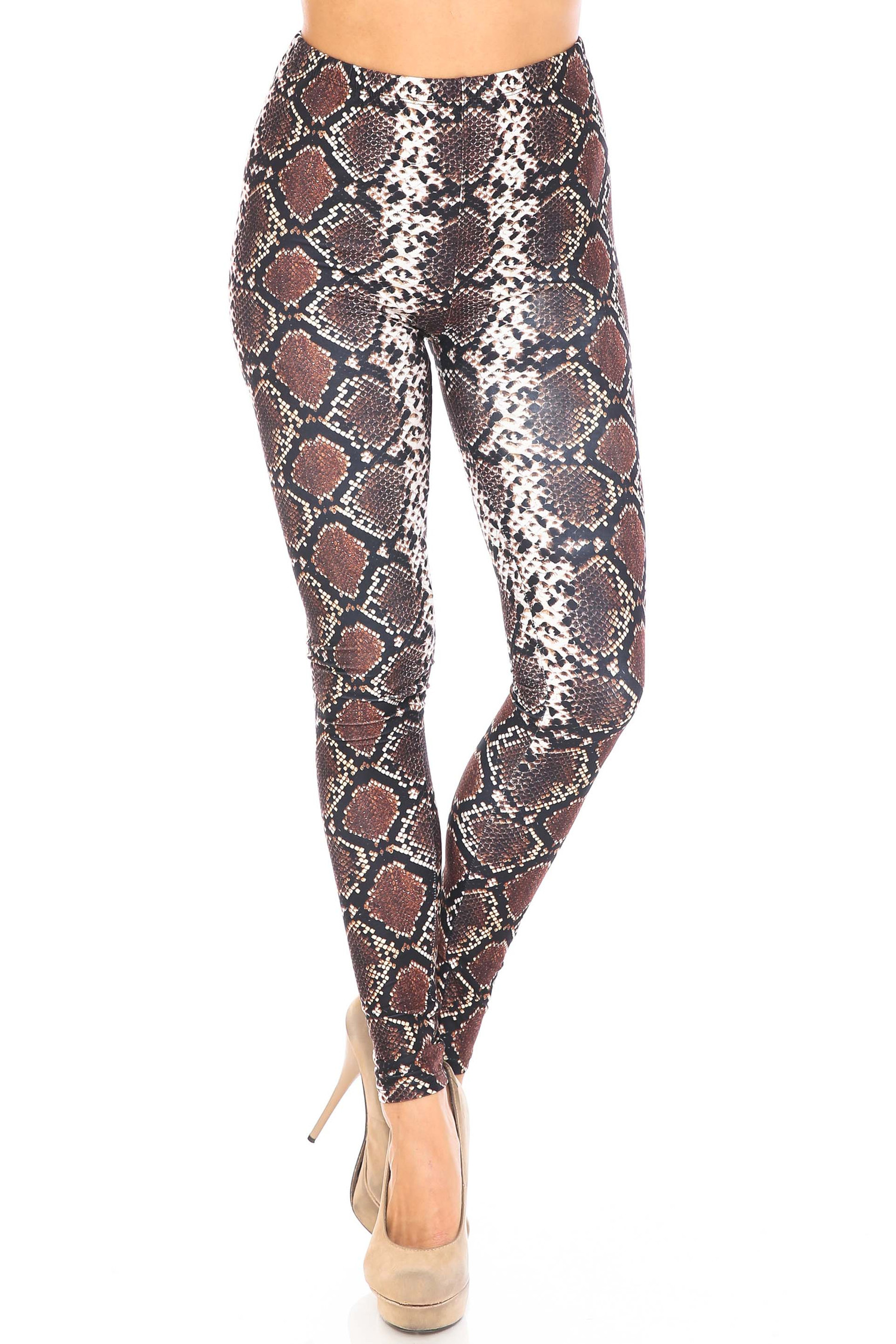 Front side image of Creamy Soft  Brown Boa Snake Plus Size Leggings - USA Fashion™