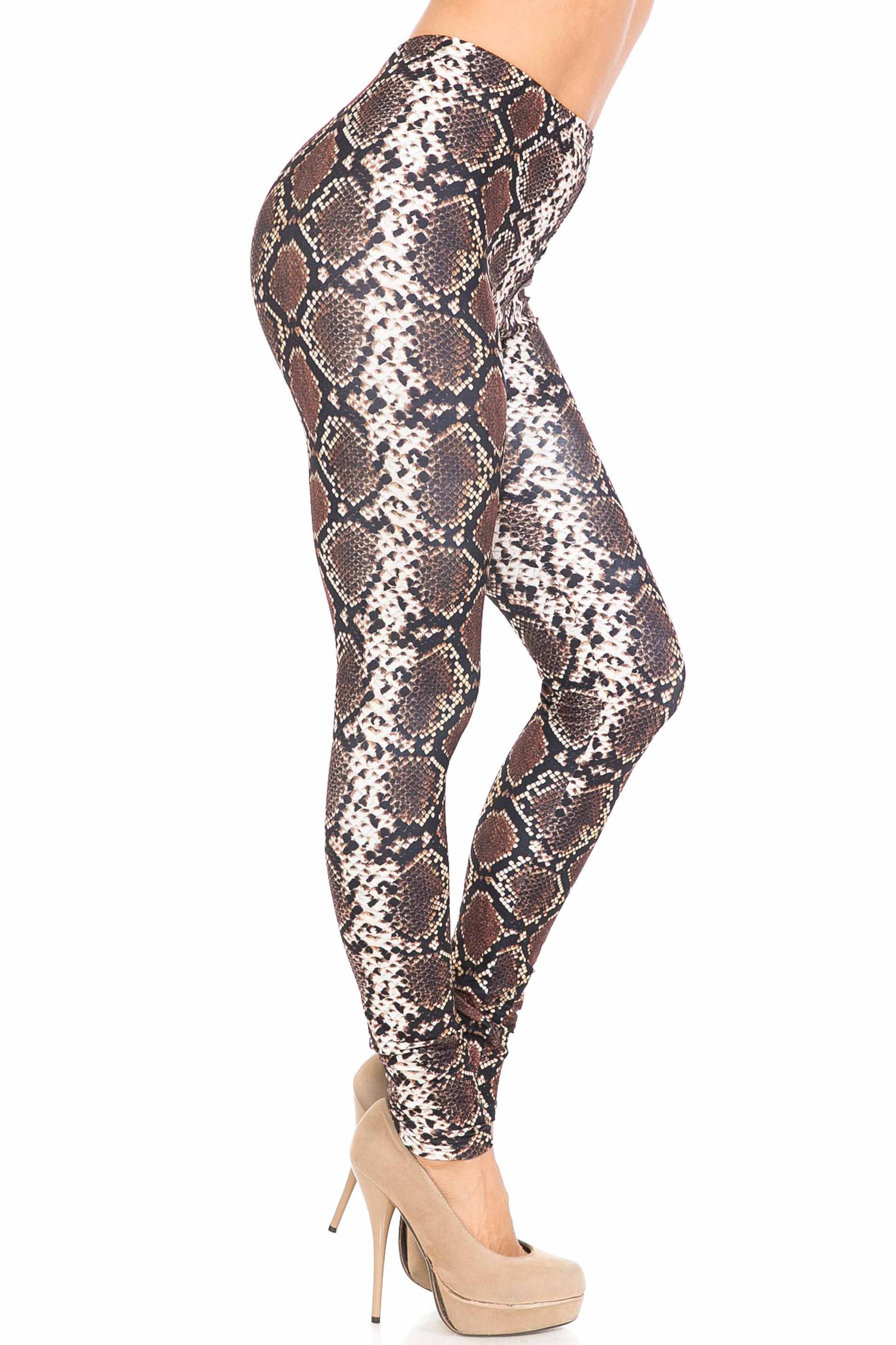 Right side of Creamy Soft  Brown Boa Snake Extra Plus Size Leggings - 3X-5X - USA Fashion™