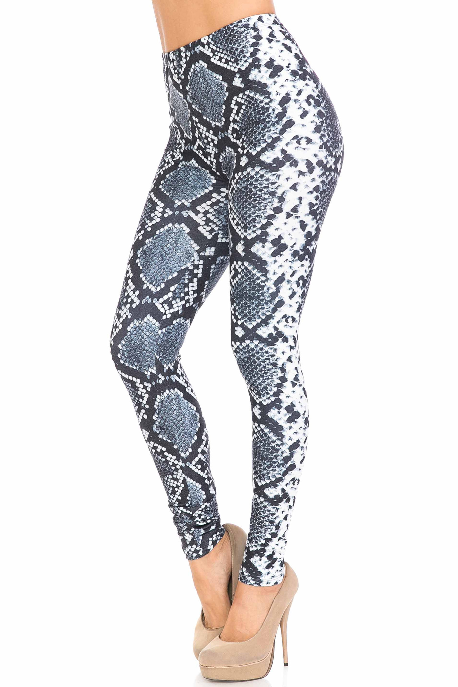 45 degree view of Creamy Soft Steel Blue Boa Plus Size Leggings - USA Fashion™ with a cool edgy snakeskin look.