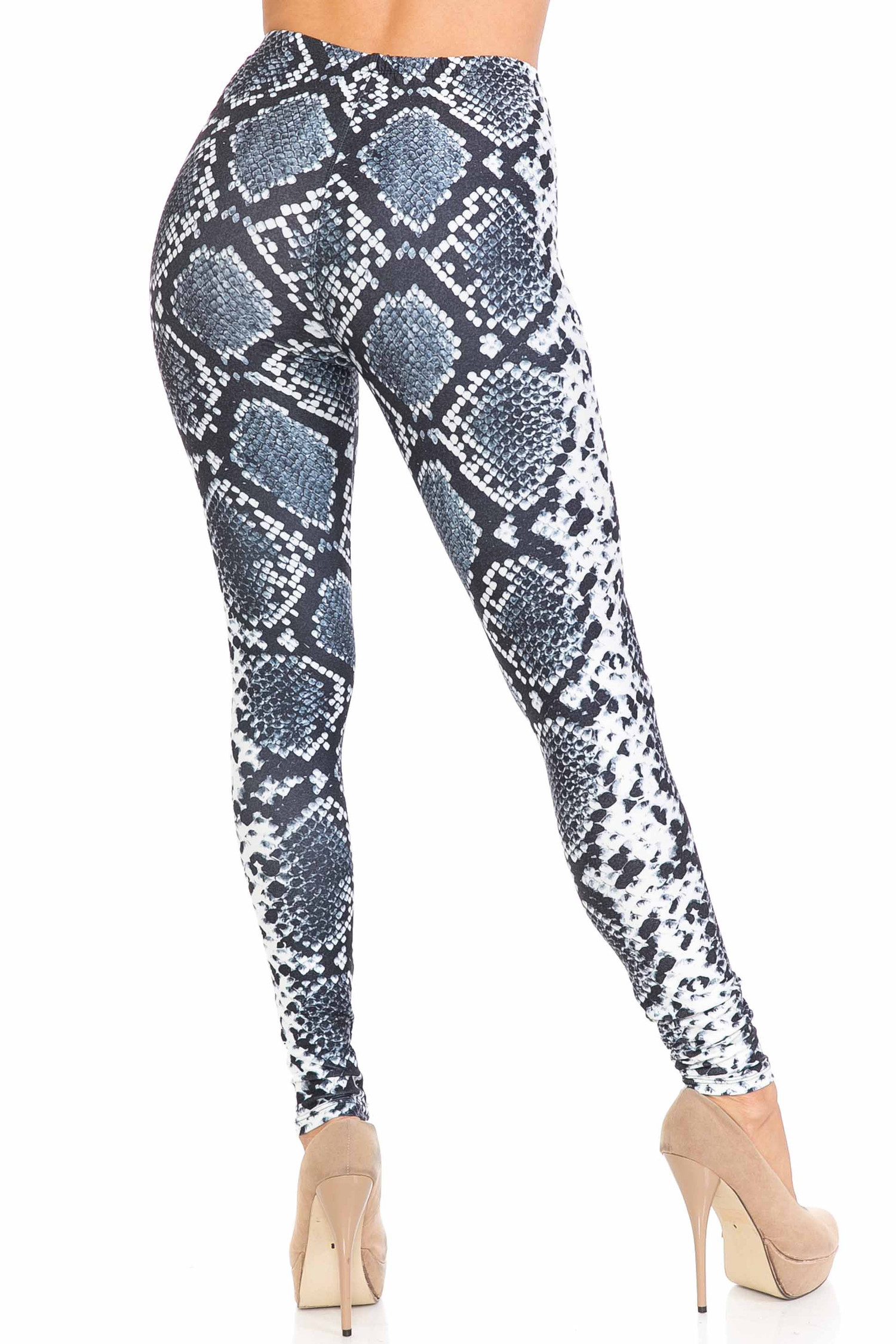 Back view of our sexy Creamy Soft Steel Blue Boa Plus Size Leggings - USA Fashion™ with a sassy all over reptile print.
