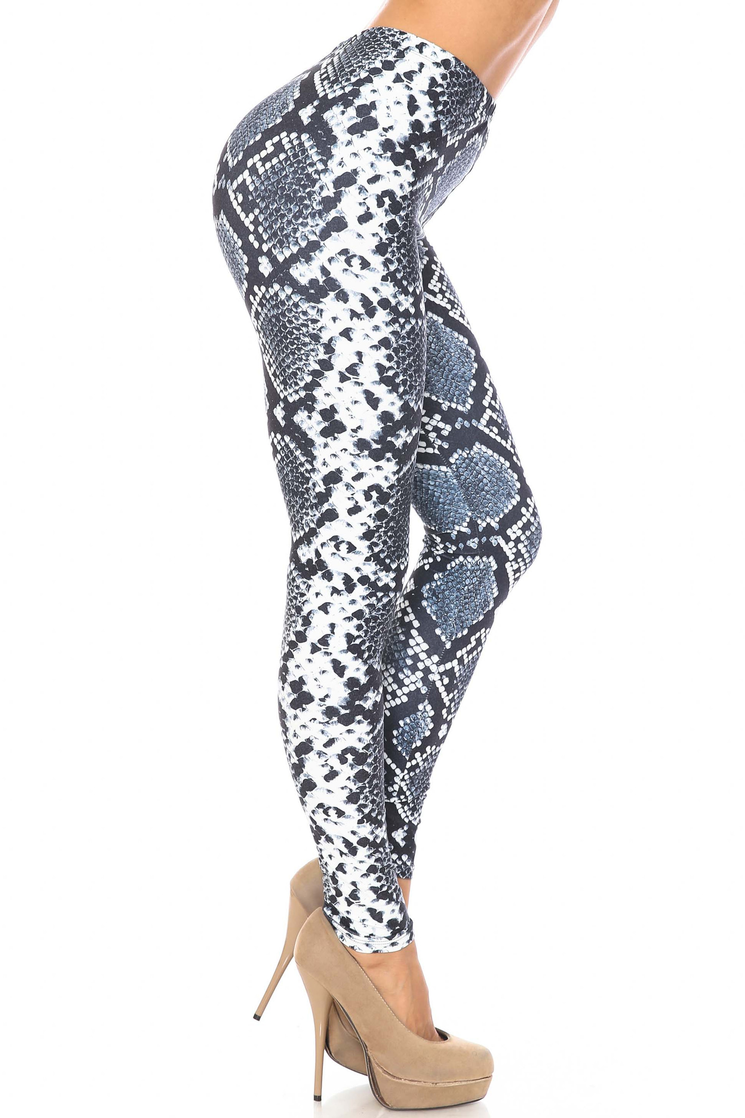 Right side of Creamy Soft Steel Blue Boa Plus Size Leggings - USA Fashion™