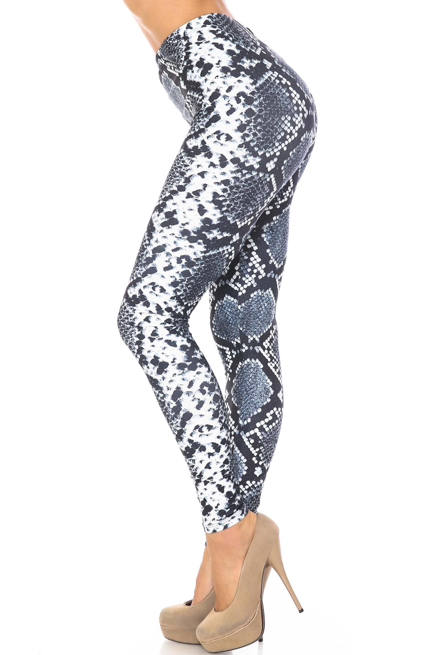 Left side of Creamy Soft Steel Blue Boa Extra Plus Size Leggings - 3X-5X - USA Fashion™
