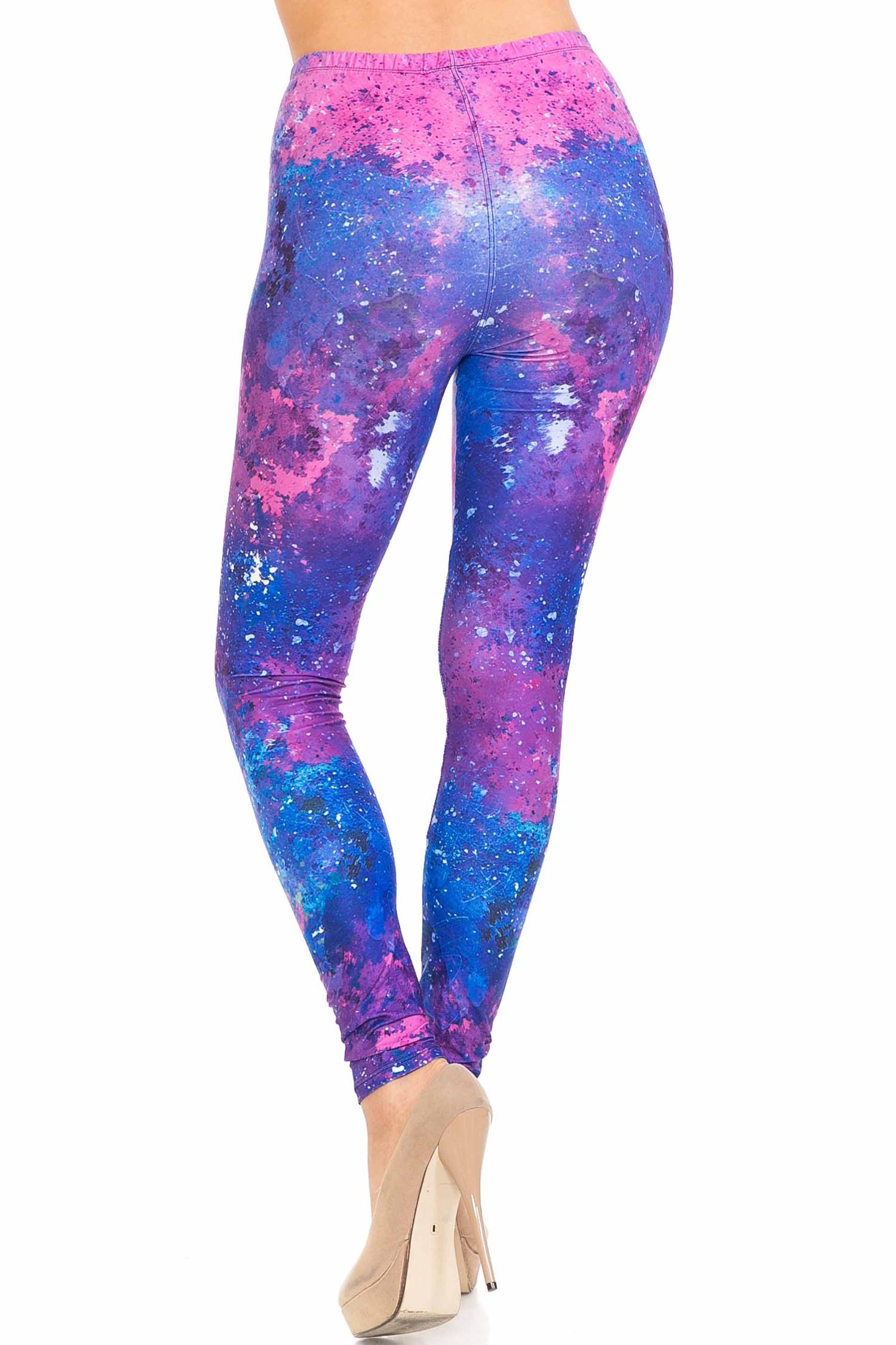 Back side image of Creamy Soft Blue Fuchsia Nebula Plus Size Leggings - USA Fashion™ showing the amazing 360 degree design.
