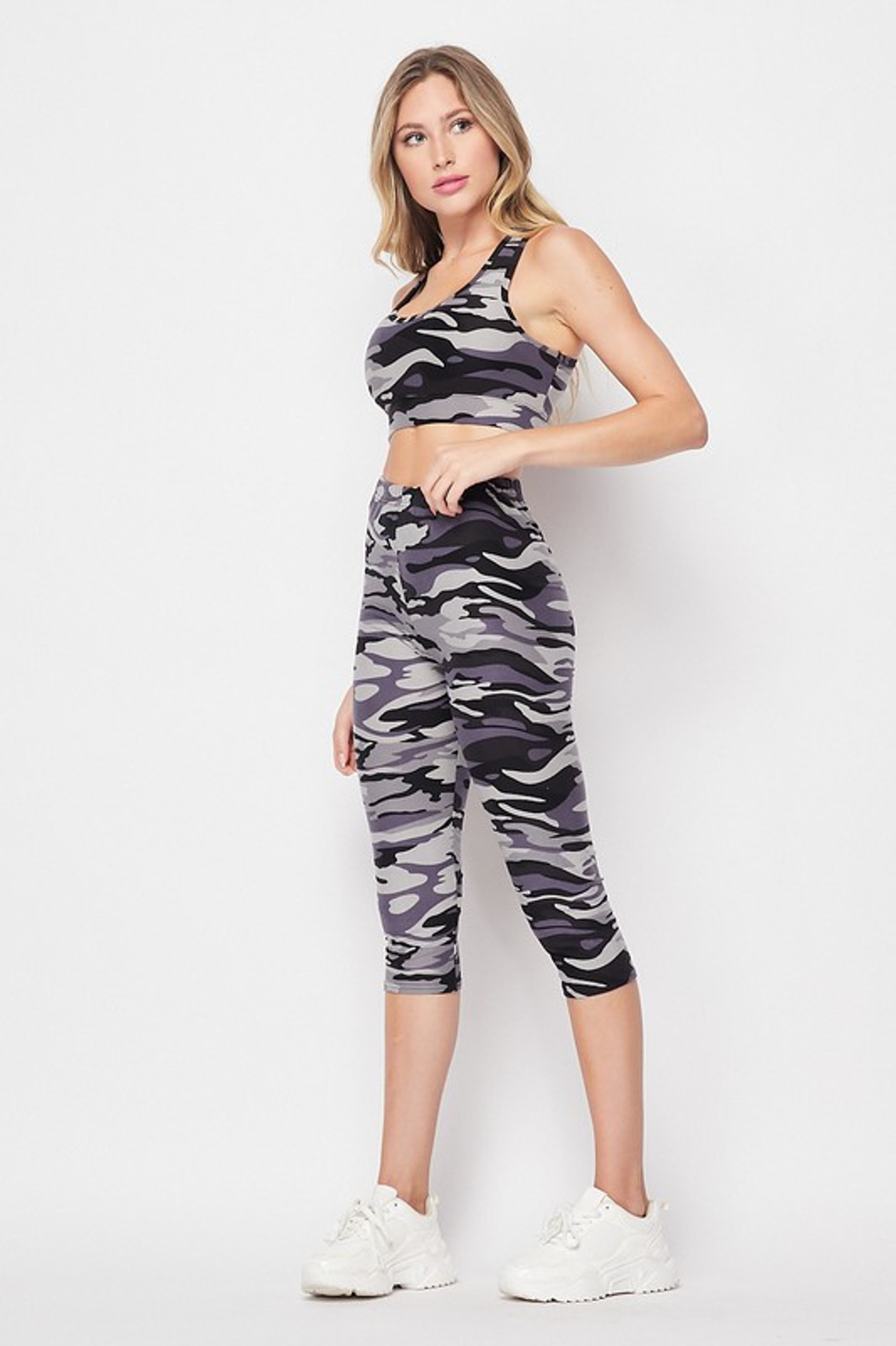 Left side of 2 Piece Charcoal Camouflage Crop Top and Capri Set