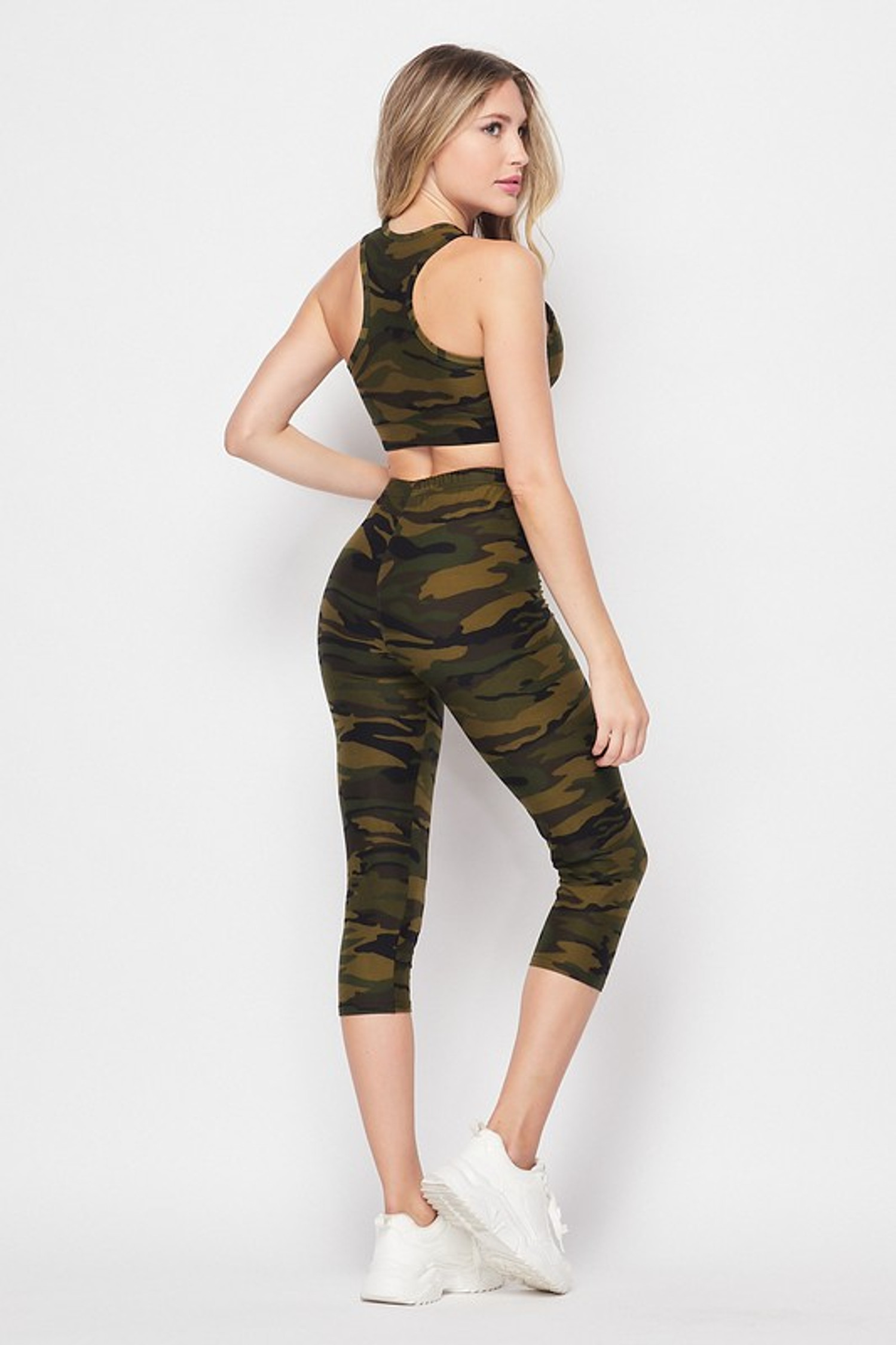 45 degree back right side view of 2 Piece Green Camouflage Crop Top and Capris Set with an all over olive army print design.