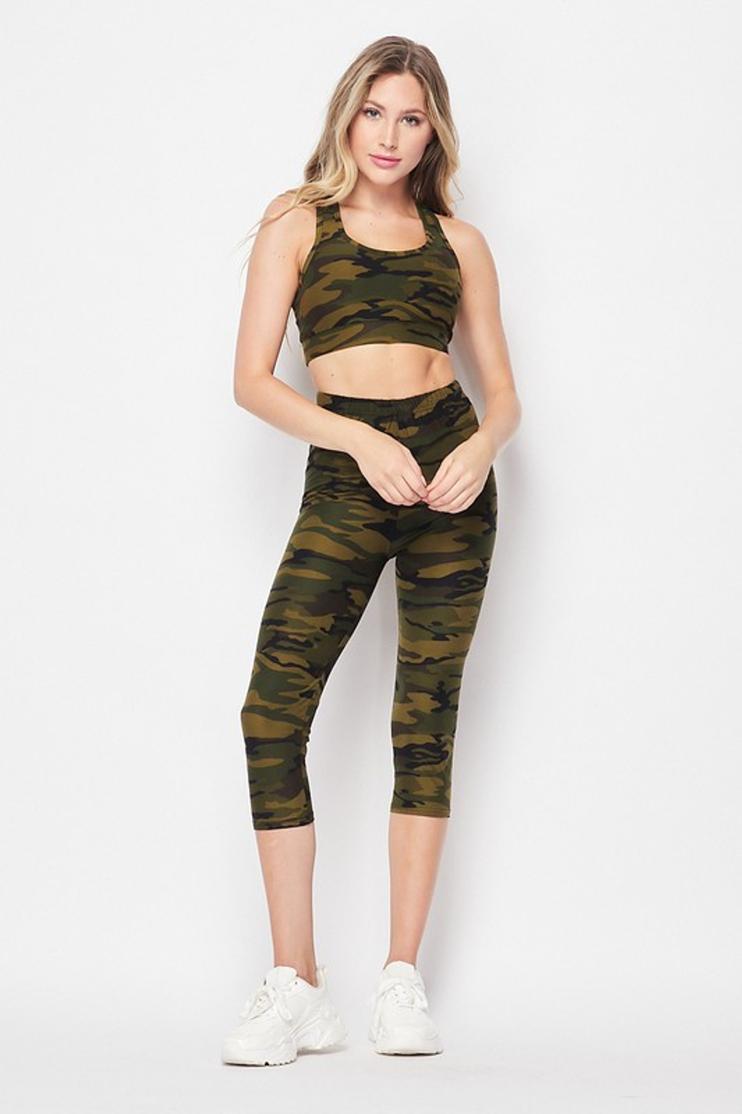 Front side image of 2 Piece Green Camouflage Crop Top and Capris Set