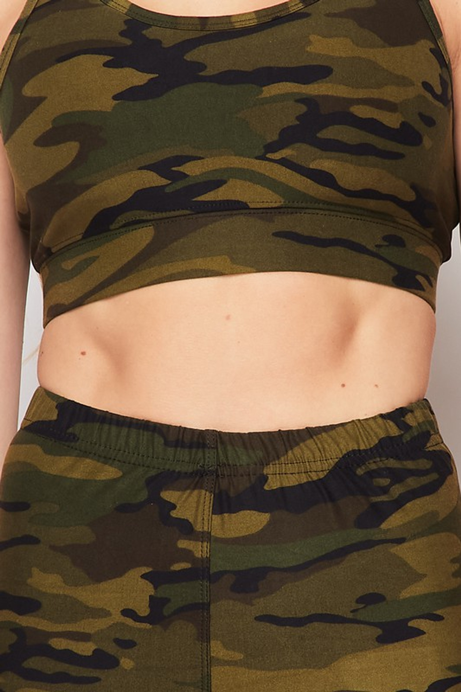 Close-up of 2 Piece Green Camouflage Crop Top and Capris Set
