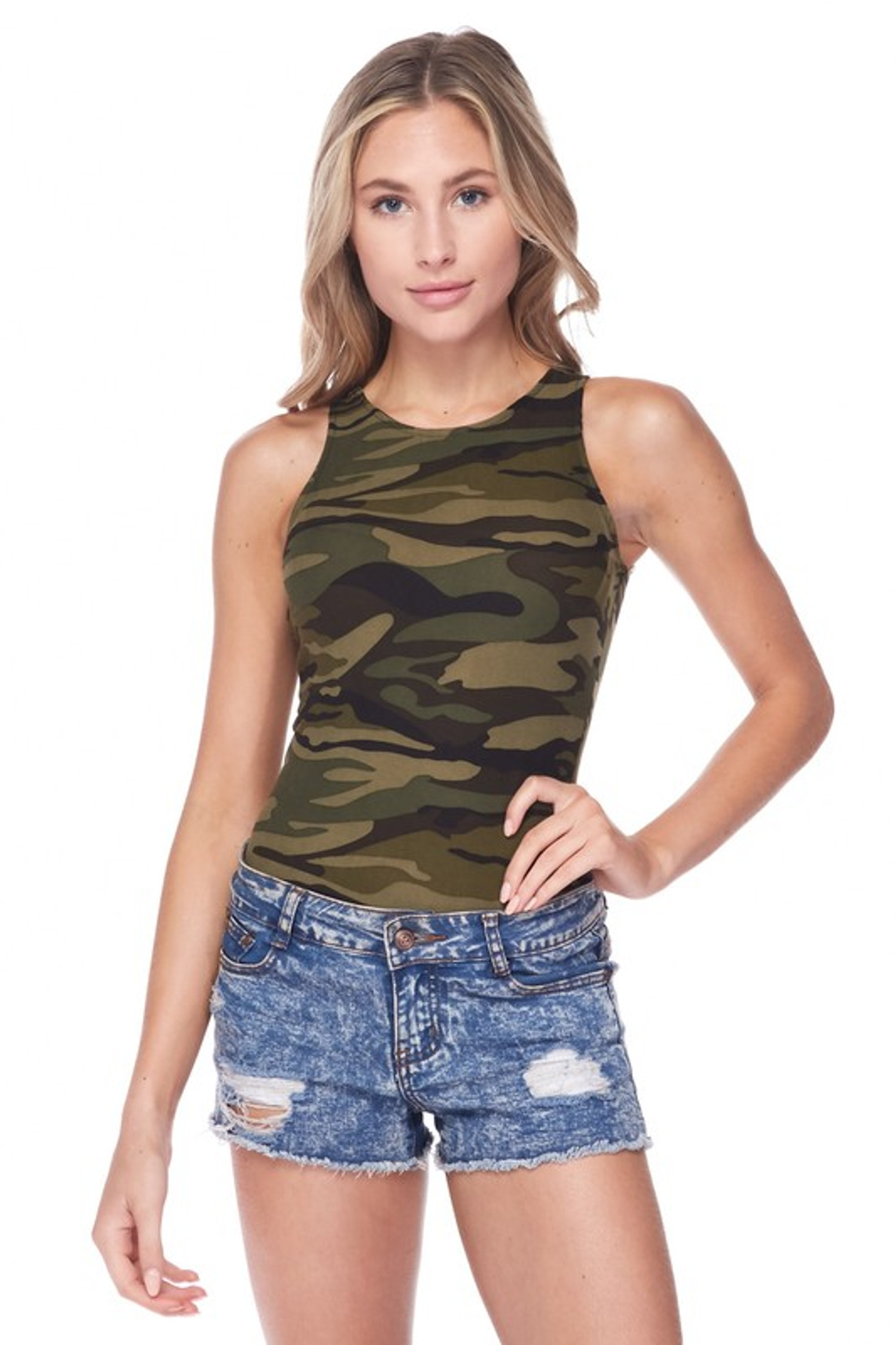 Front of Brushed Green Camouflage Mock Neck Bodysuit with a trendy green army print design, shown paired with distressed denim shorts.