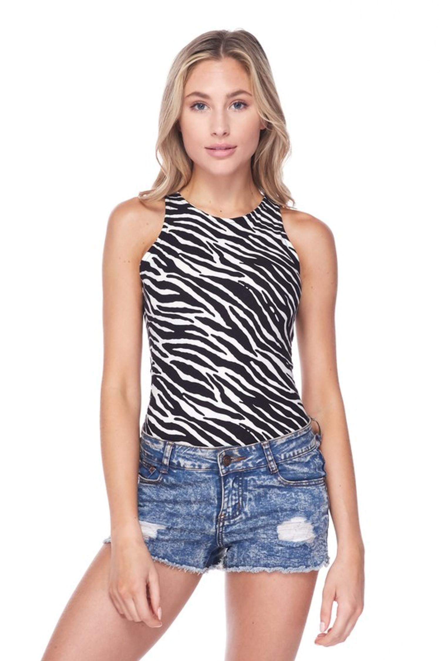 Front side image of Brushed Zebra Print Mock Neck Bodysuit