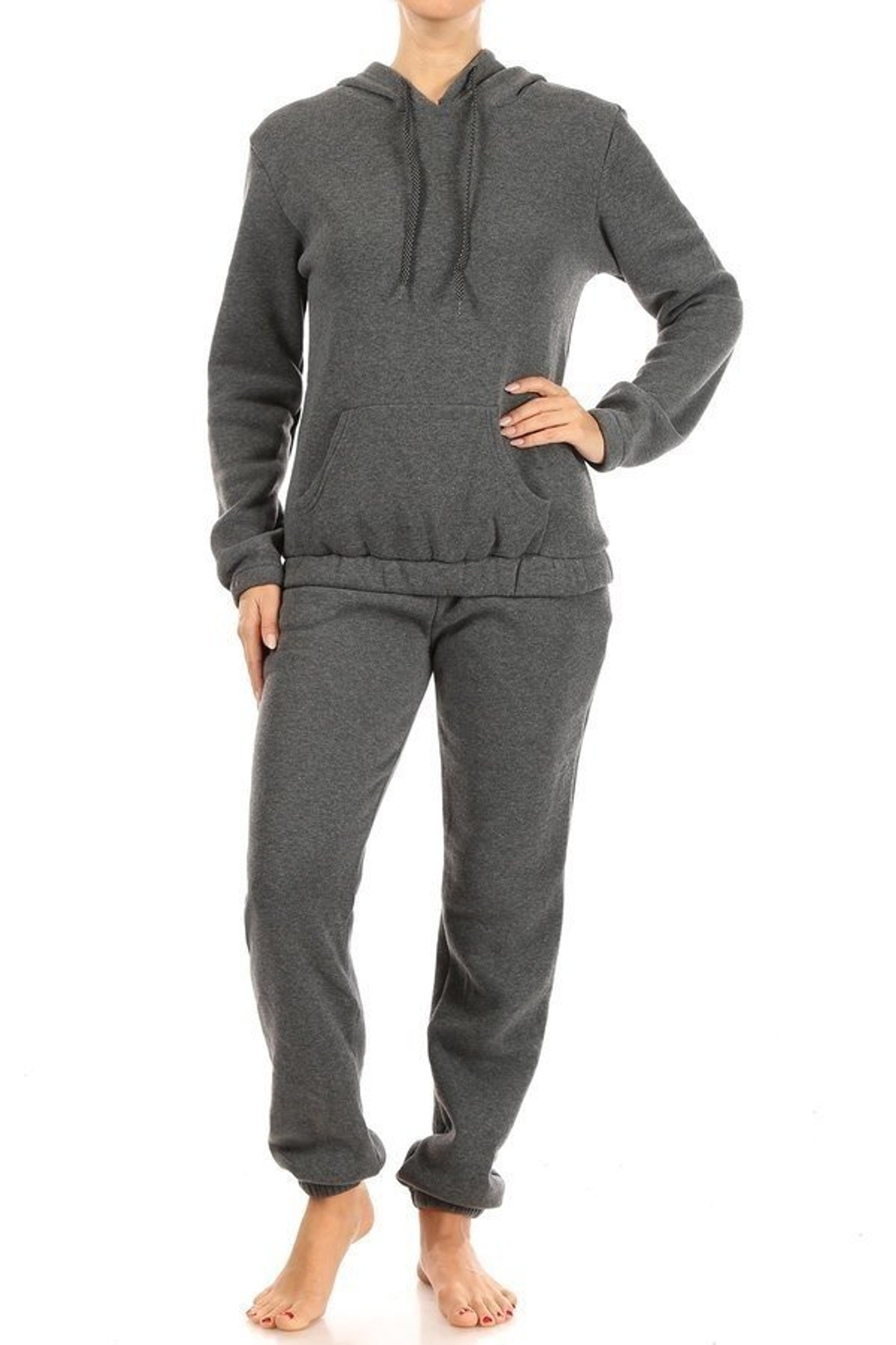 Charcoal 2 Piece Solid Fleece Lined French Terry Joggers and Hoodie Set