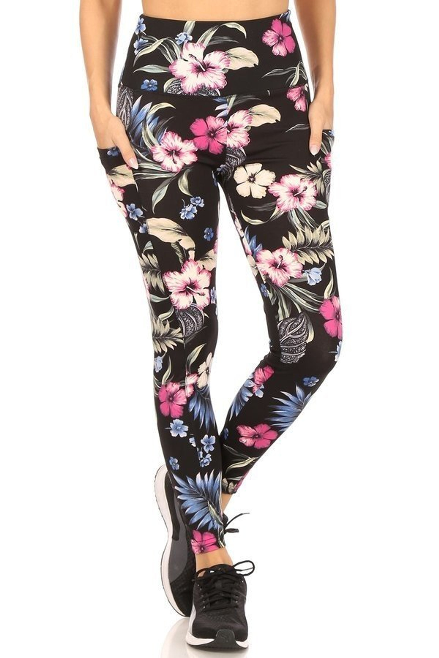 Front side of High Waisted Graceful Floral Sports Leggings with Side Pockets