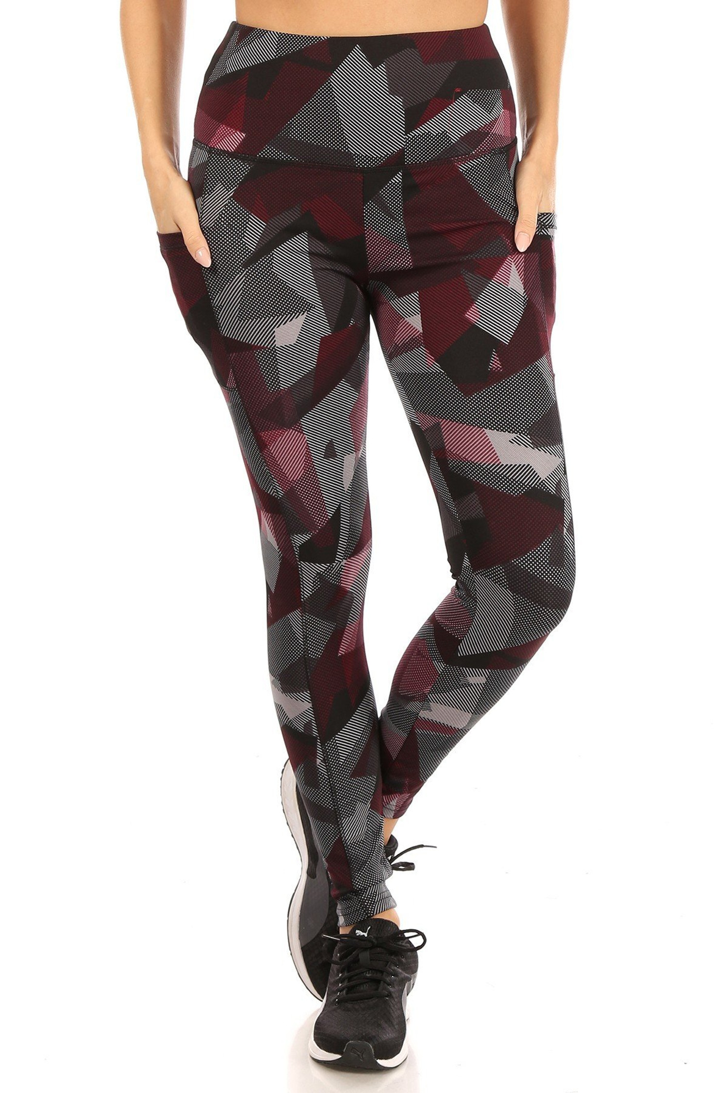 Front side of High Waisted Red Geo Sports Leggings with Side Pockets