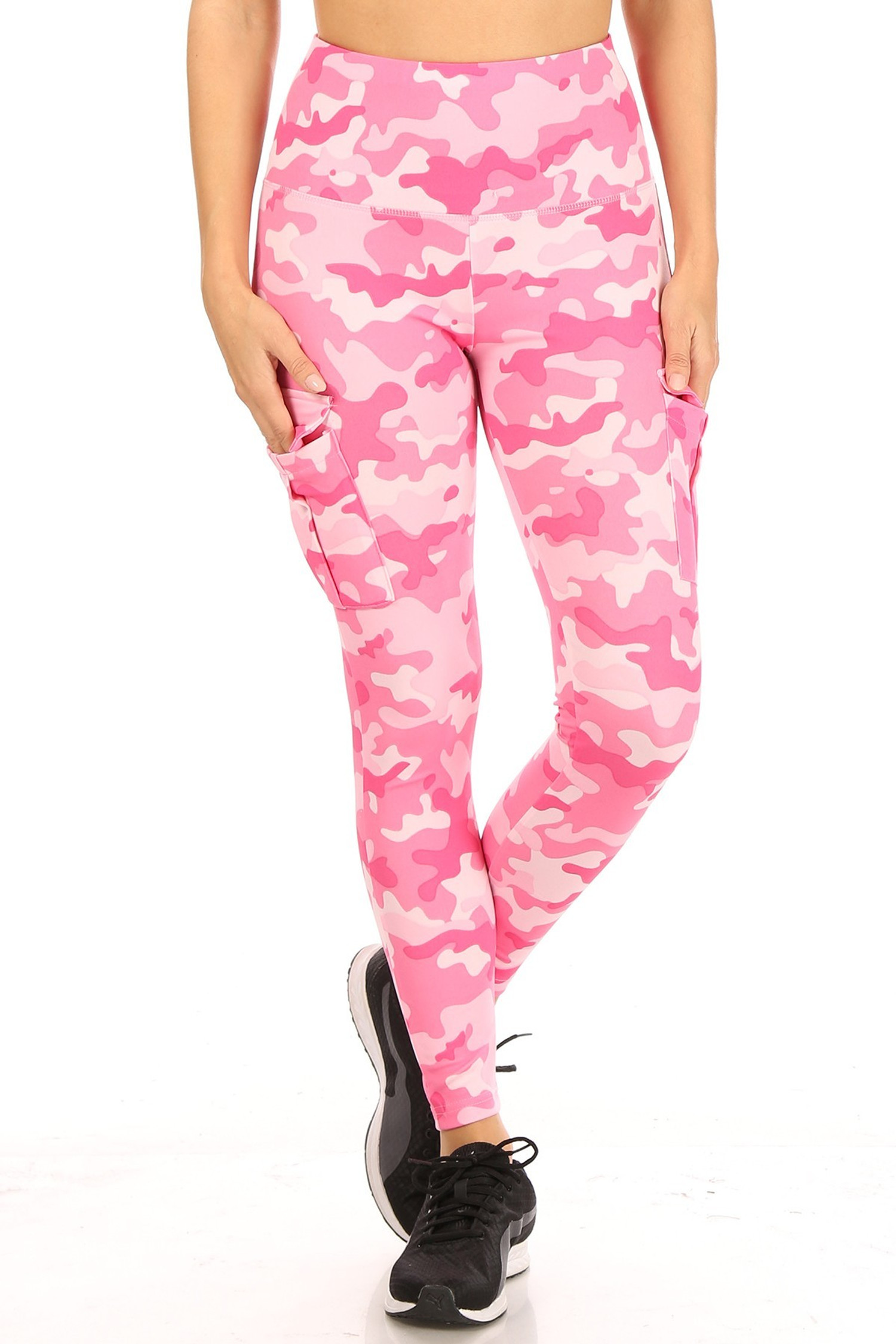 Front side of Cotton Candy Camouflage Sport Leggings with Cargo Pocket