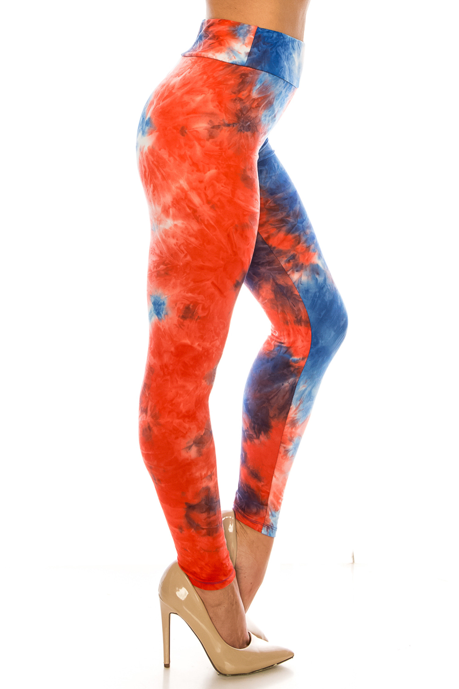 Right side of Buttery Soft Red and Blue Tie Dye High Waisted Leggings