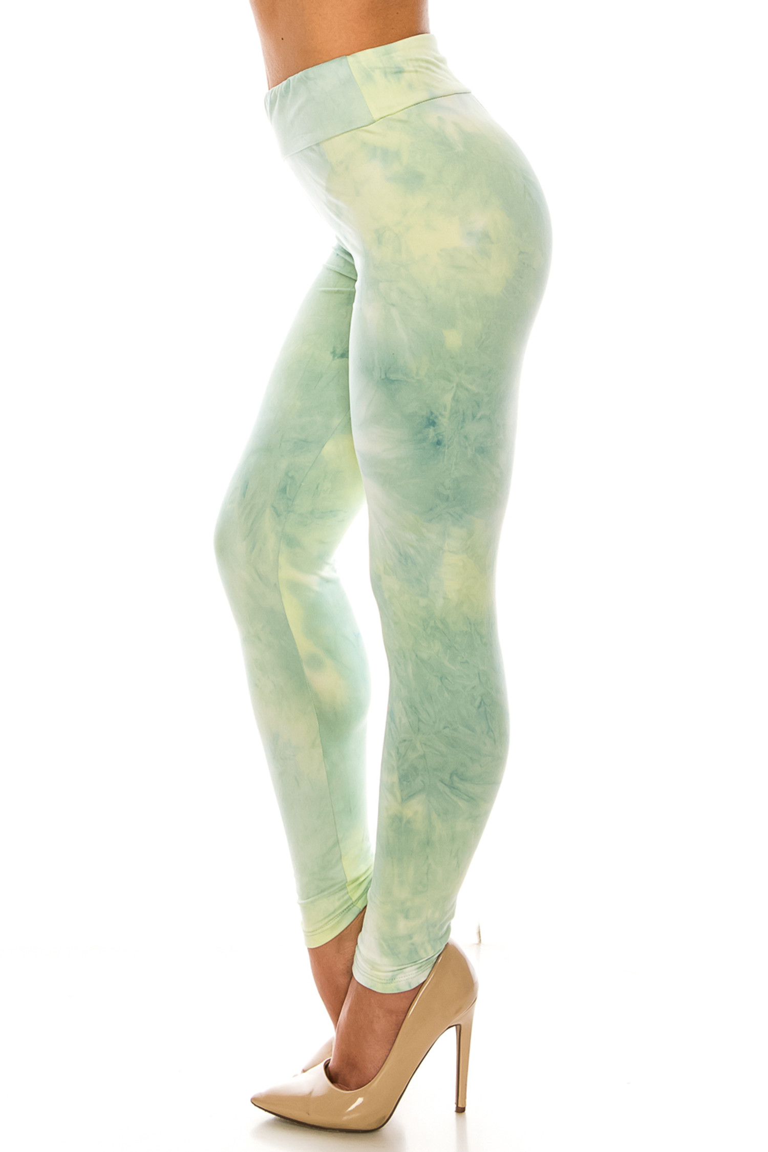 Left side of Buttery Soft Mint Tie Dye High Waisted Leggings