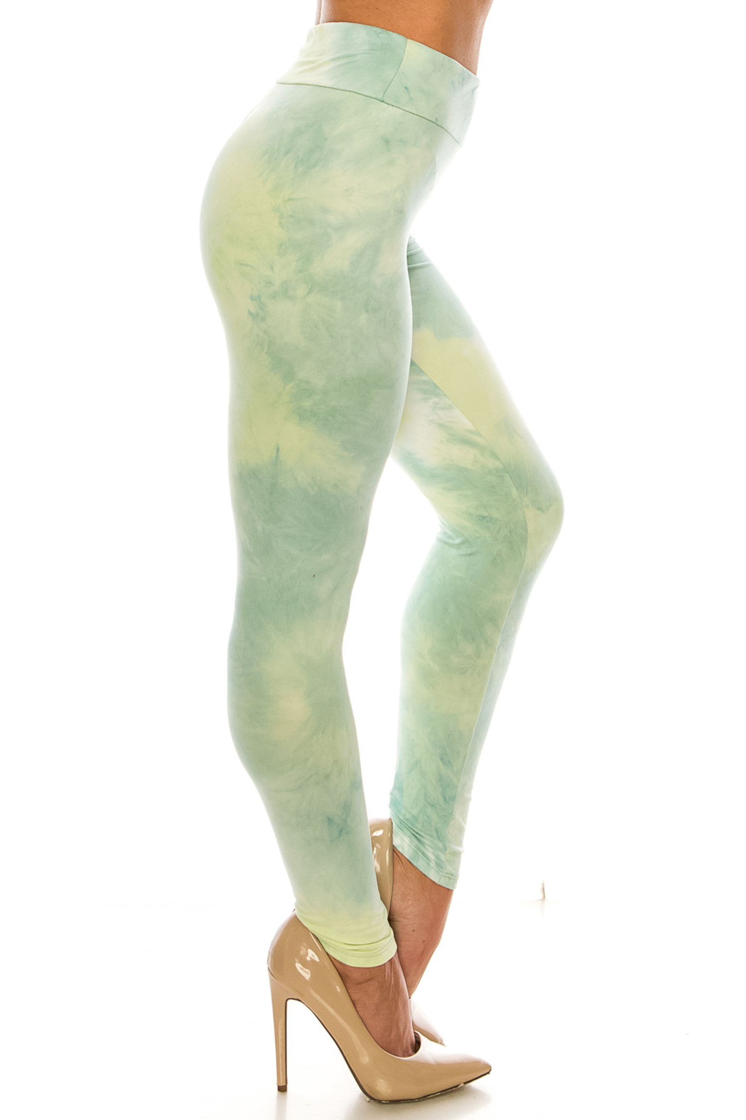 Right side of Buttery Soft Mint Tie Dye High Waisted Leggings