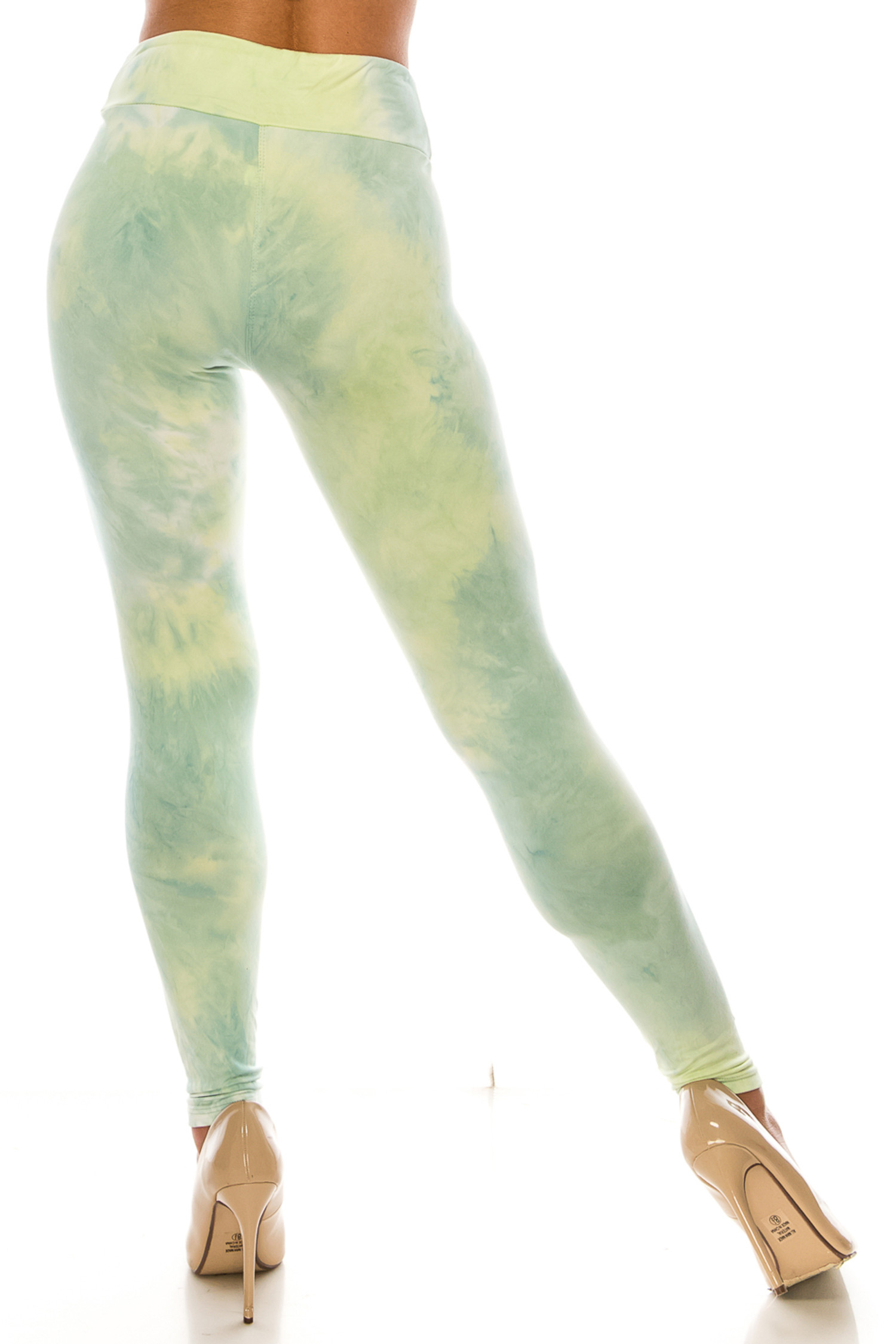 Back view of Buttery Soft Mint Tie Dye High Waisted Leggings - Plus Size with a flattering fitted silhouette.