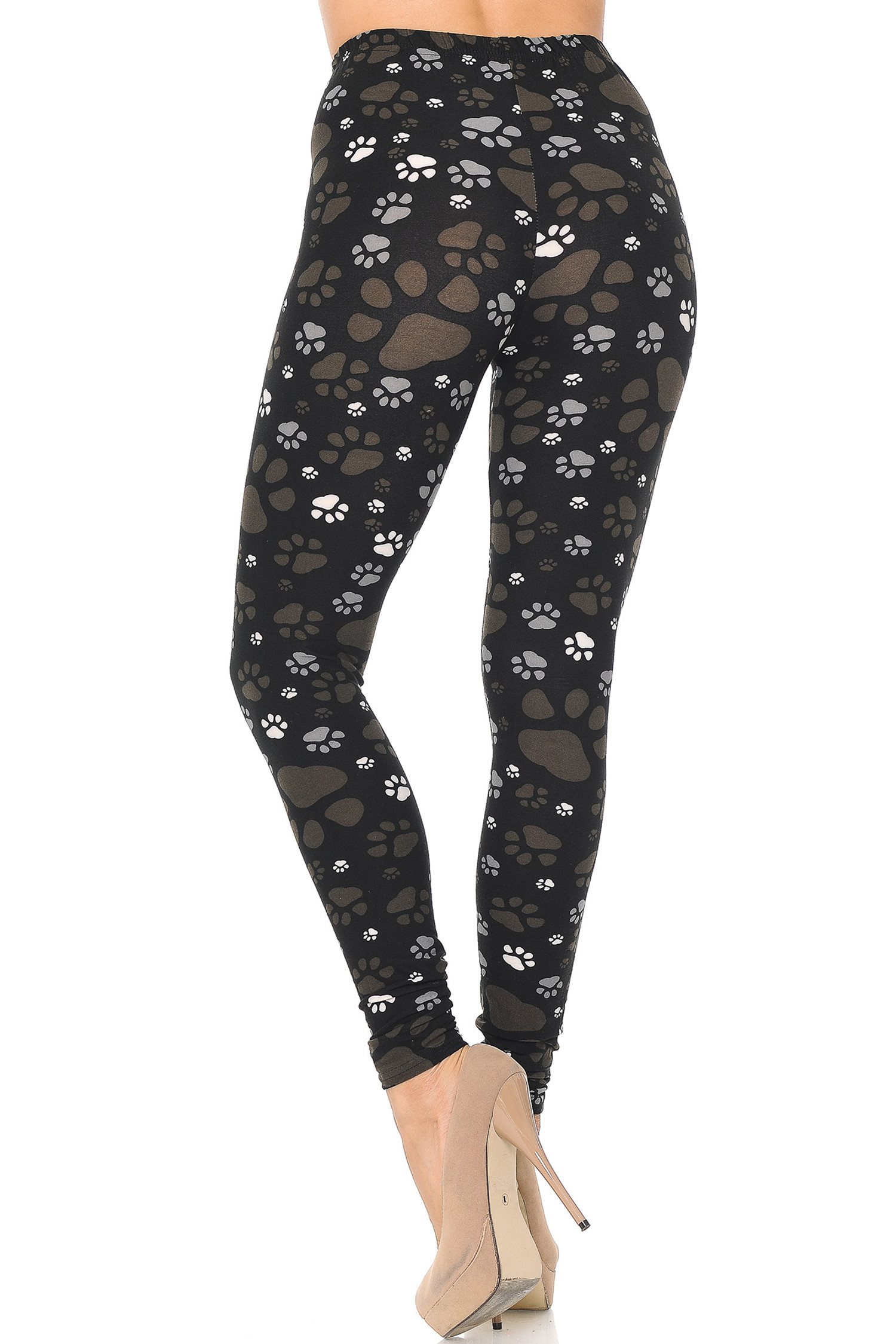 Back of Creamy Soft Muddy Paw Print Leggings  - USA Fashion™ with a neutral colored look perfect for mixing and matching with tops of all colors.