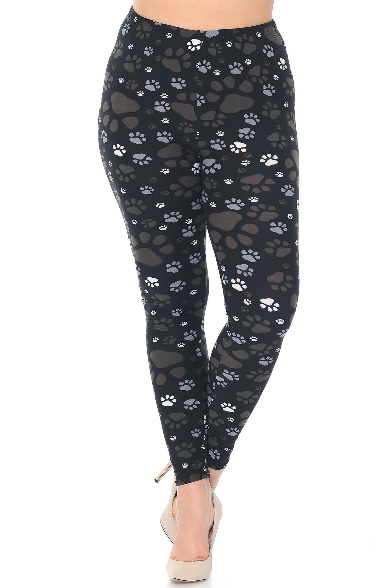 Front of Creamy Soft Muddy Paw Print Extra Plus Size Leggings - 3X-5X - USA Fashion™