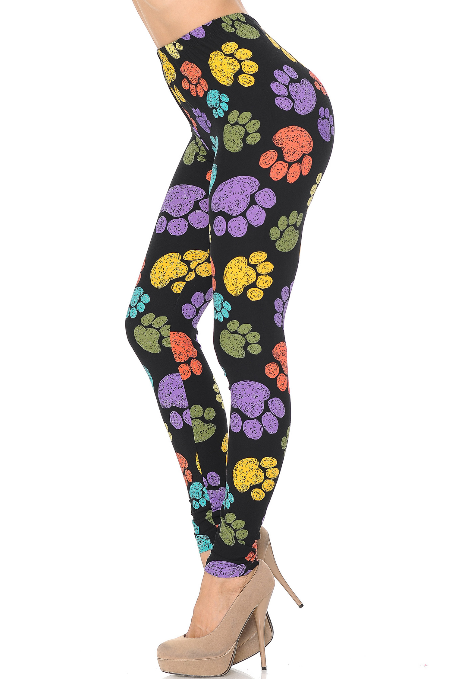 Left side of Creamy Soft Colorful Paw Print Plus Size Leggings - USA Fashion™