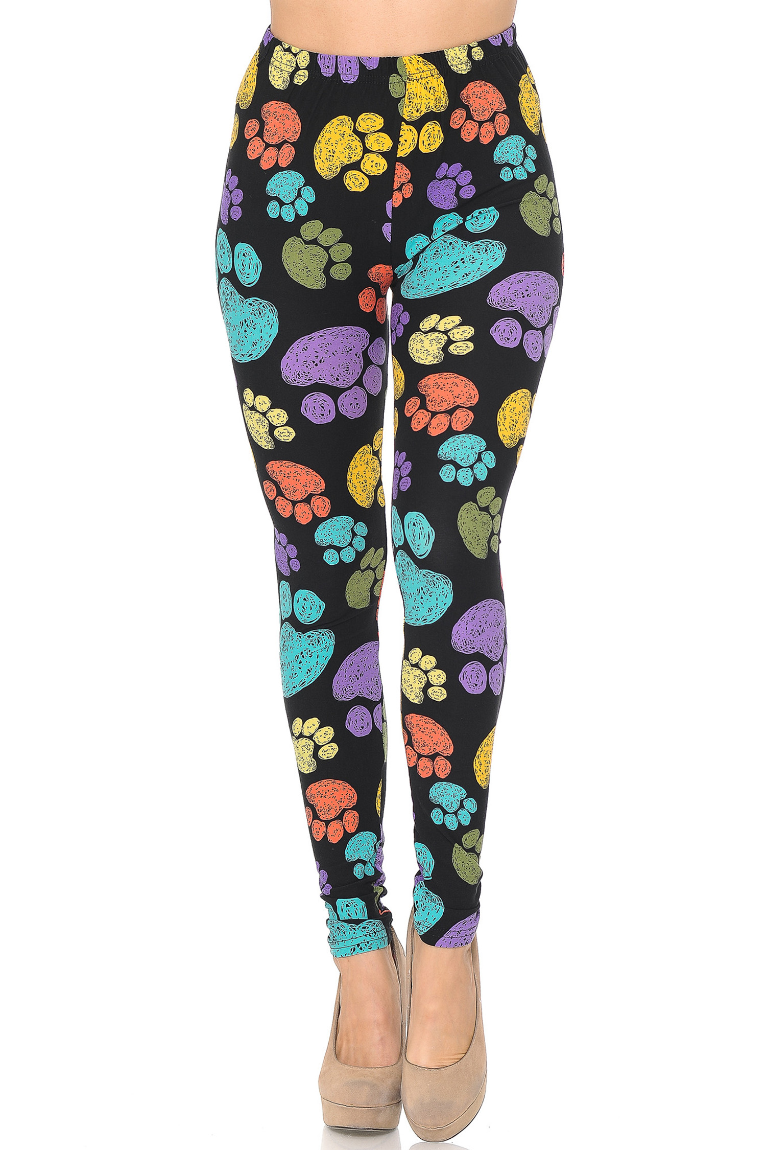 Front on image of Creamy Soft Colorful Paw Print Leggings - USA Fashion™