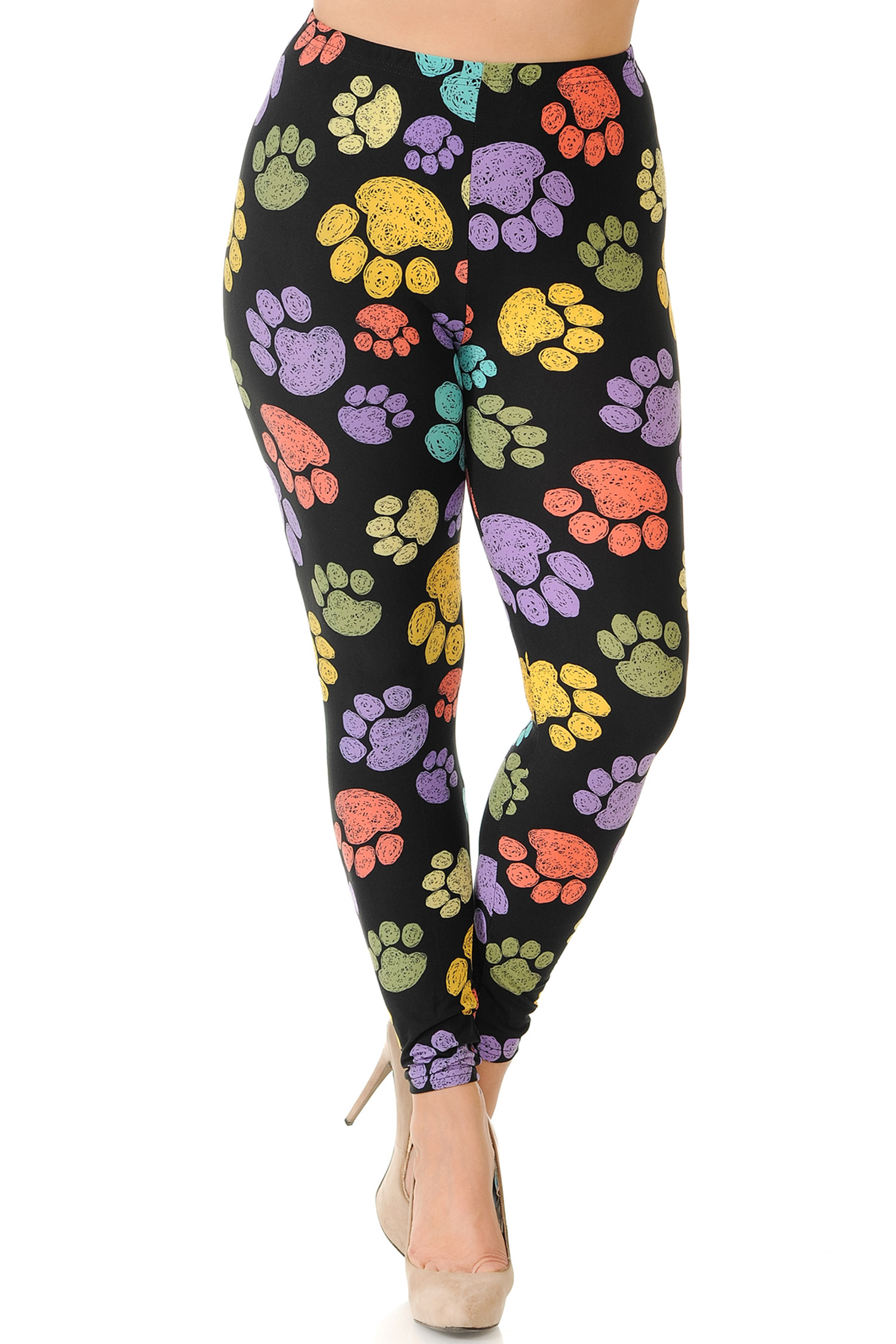 Front side image of Creamy Soft Colorful Paw Print Plus Size Leggings - USA Fashion™ with a flattering fit and luxurious comfort.